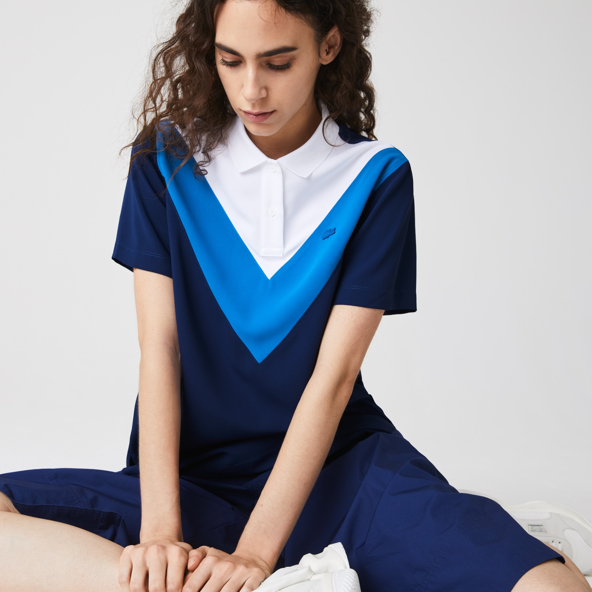 Womens Lacoste Straight fit Colourblock Flowy And Lightweight Polo