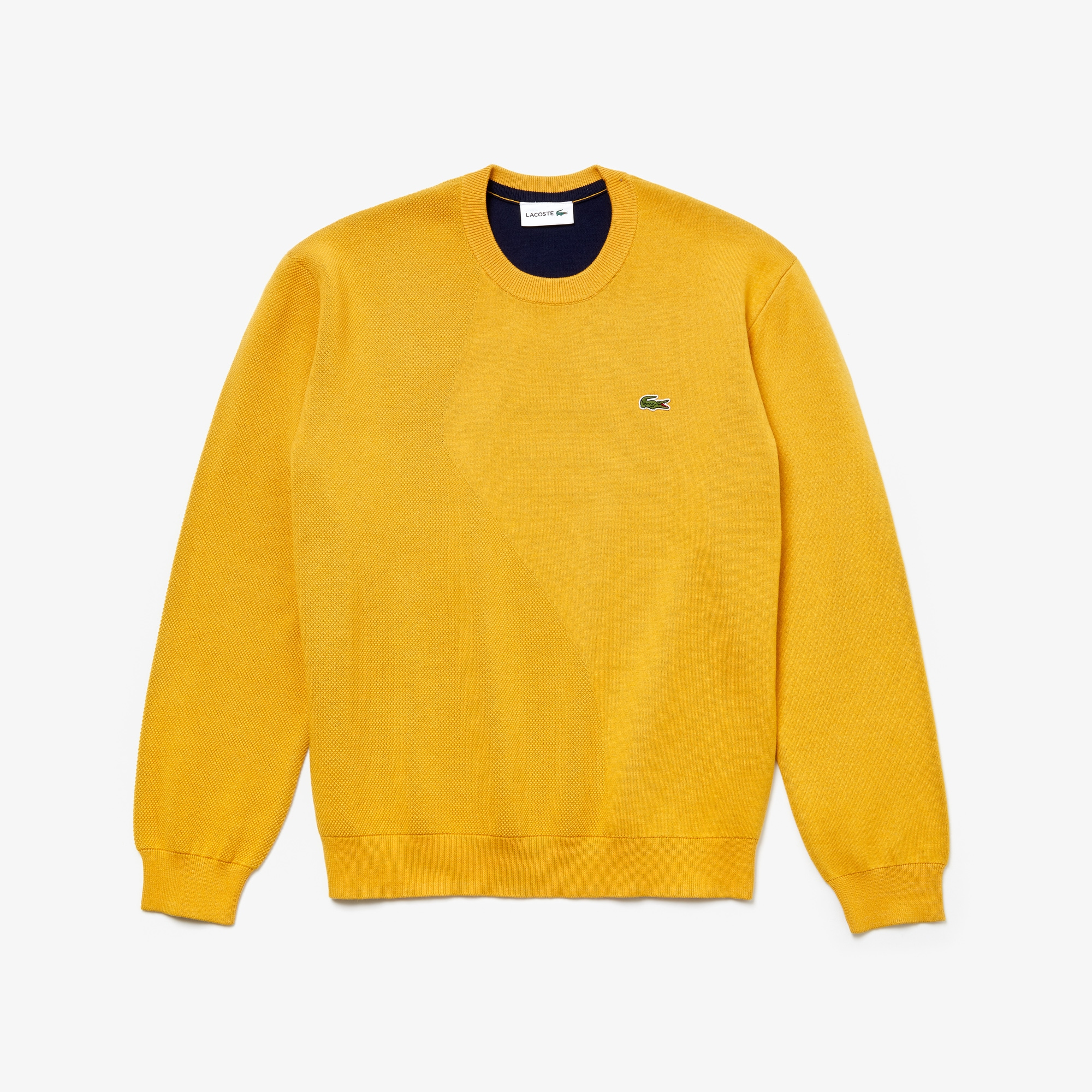 LACOSTE Cottons Men's Crewneck Textured Thermoregulating Sweater