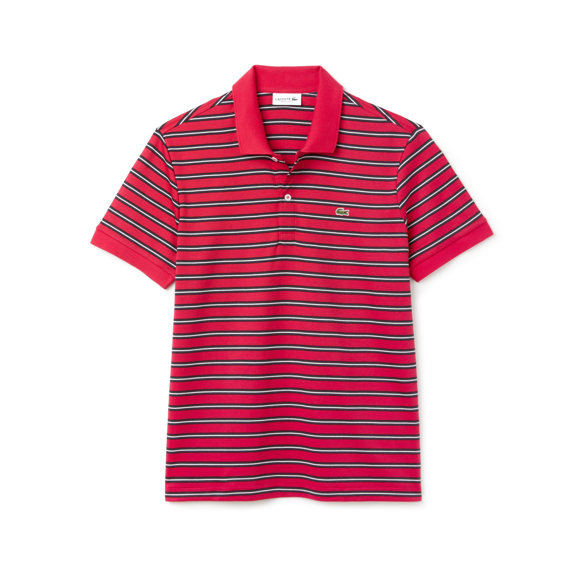 Men's Lacoste Regular Fit Striped Pima Cotton Interlock Polo