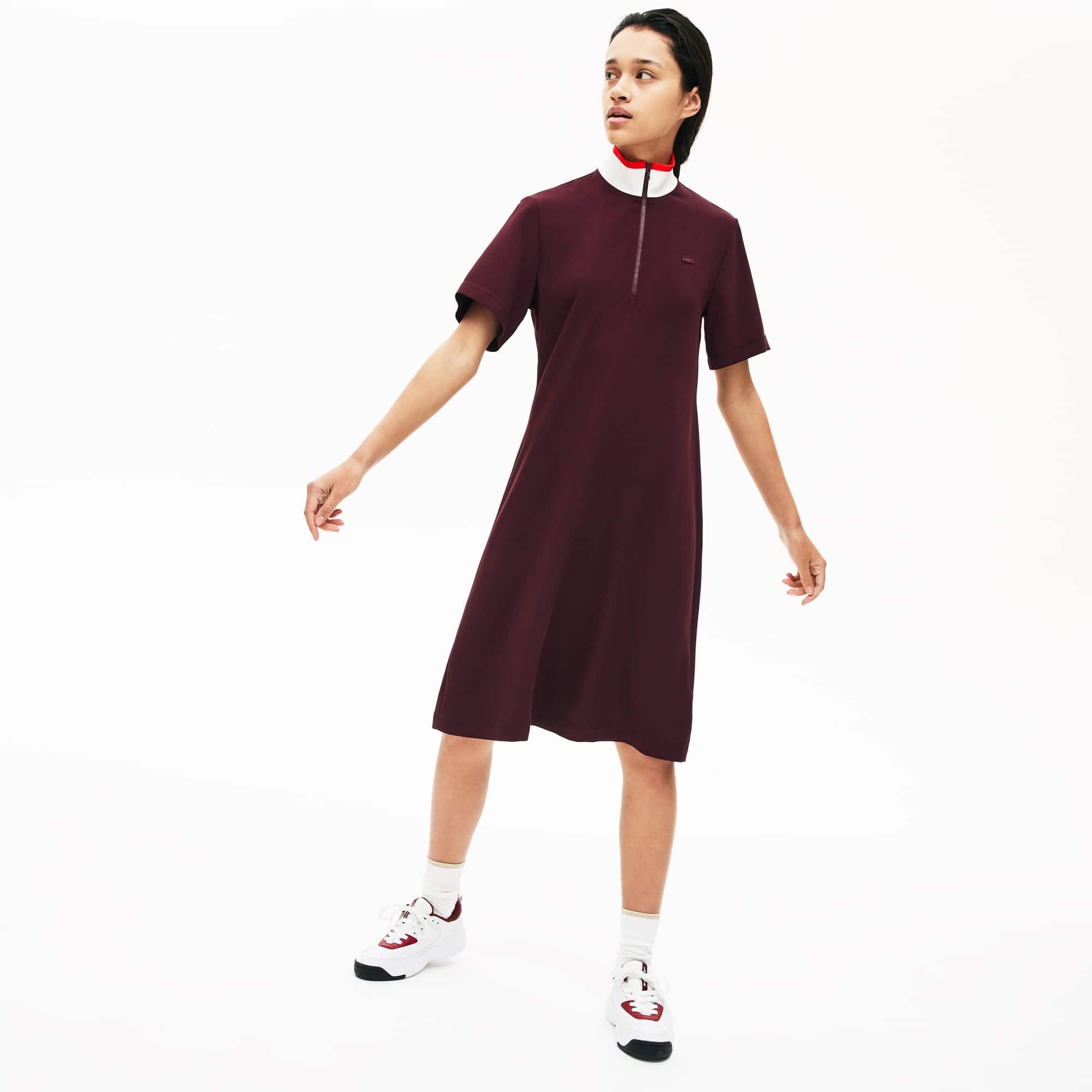 라코스테 Lacoste Womens Flared Zip-Up Polo Dress,Bordeaux / White / Red X2G