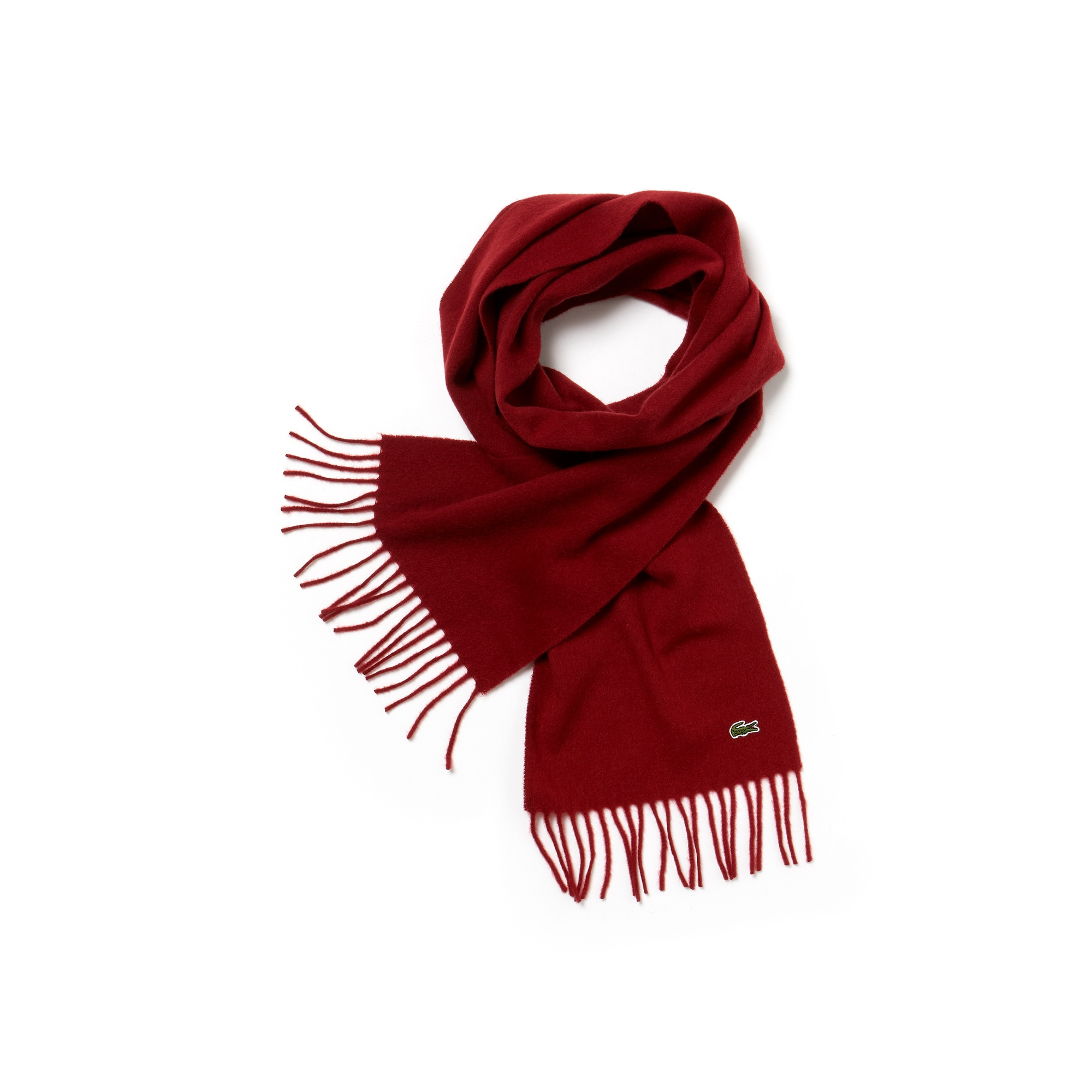 라코스테 Lacoste Mens Wool And Cashmere Flannel Fringe Scarf,myrtillier chine