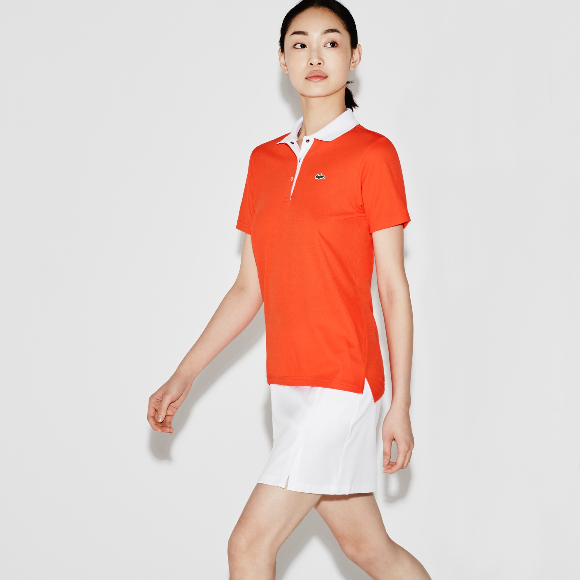 Women'S Sport Golf Tech Honeycomb Knit Polo in Mexico Red/White from Lacoste