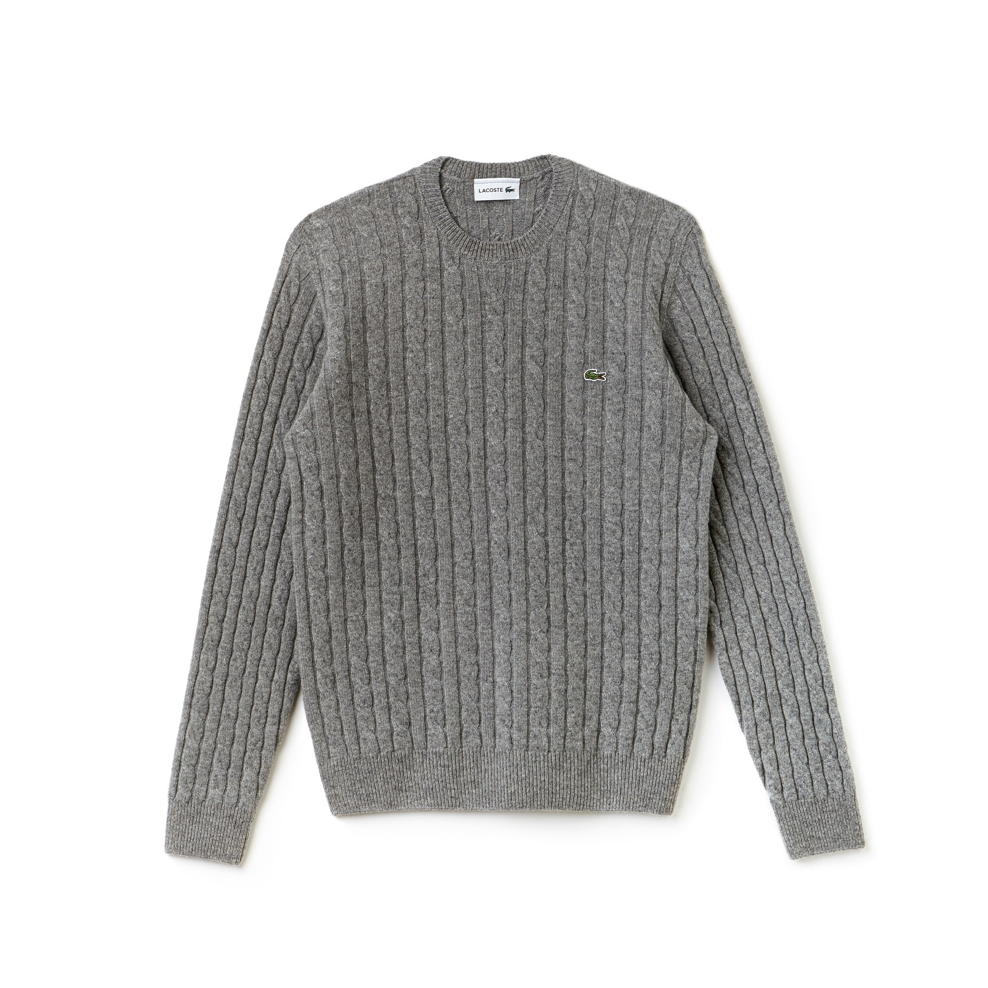 26c26983 Men's Crew Neck Wool Cable Knit Effect Sweater