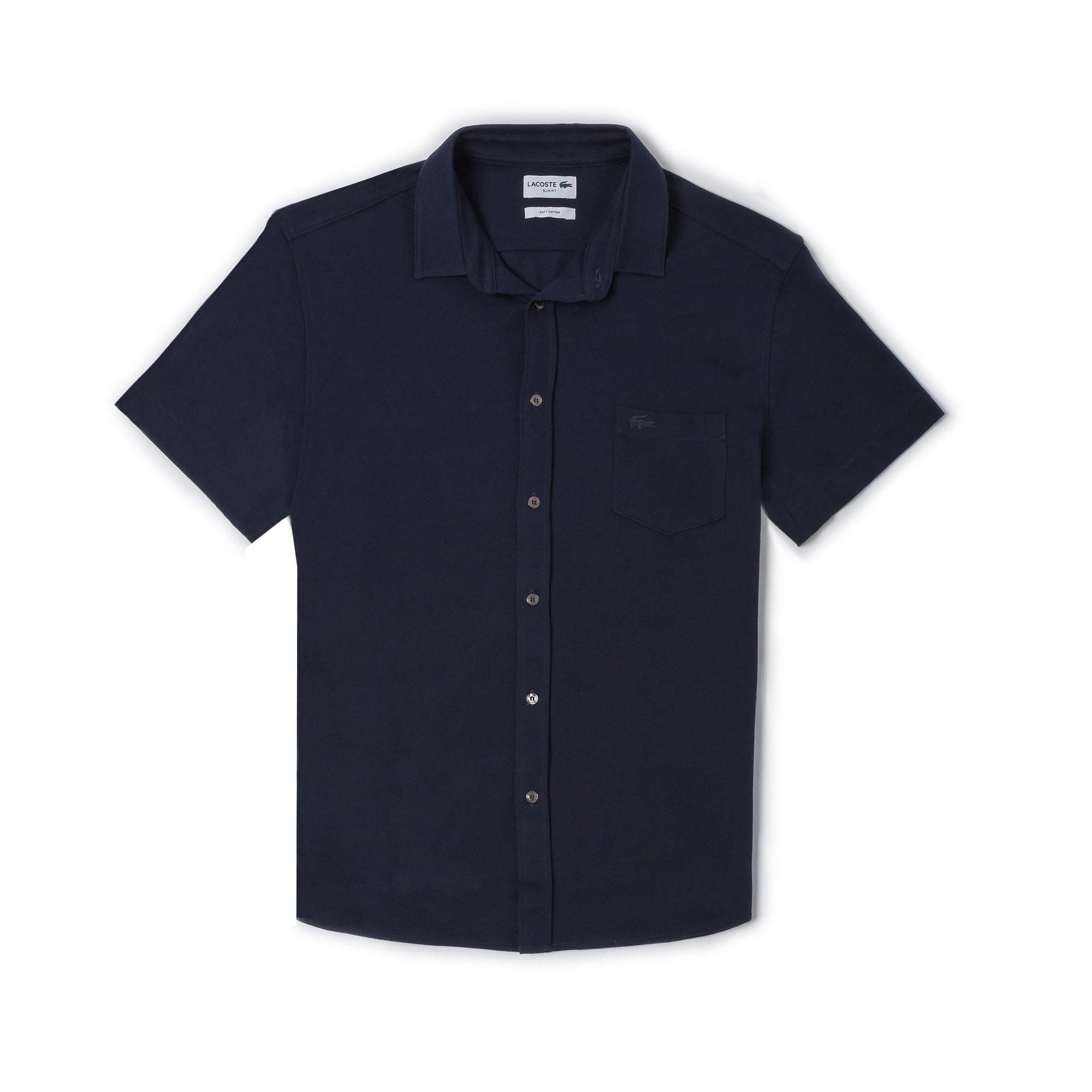 Men's Slim Fit Cotton Piqué Shirt