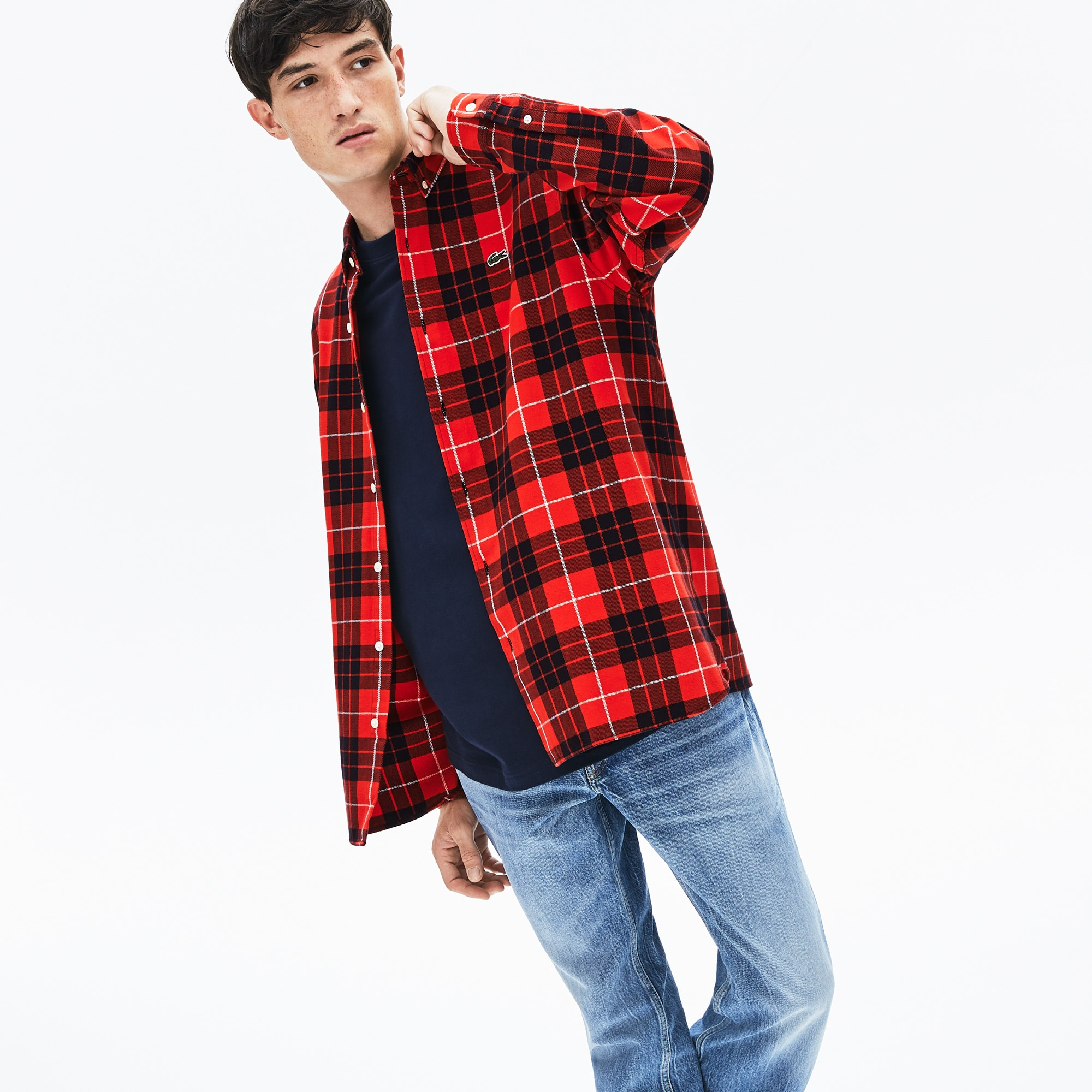 Lacoste Tops Men's LIVE Boxy Fit Check Flannel Shirt