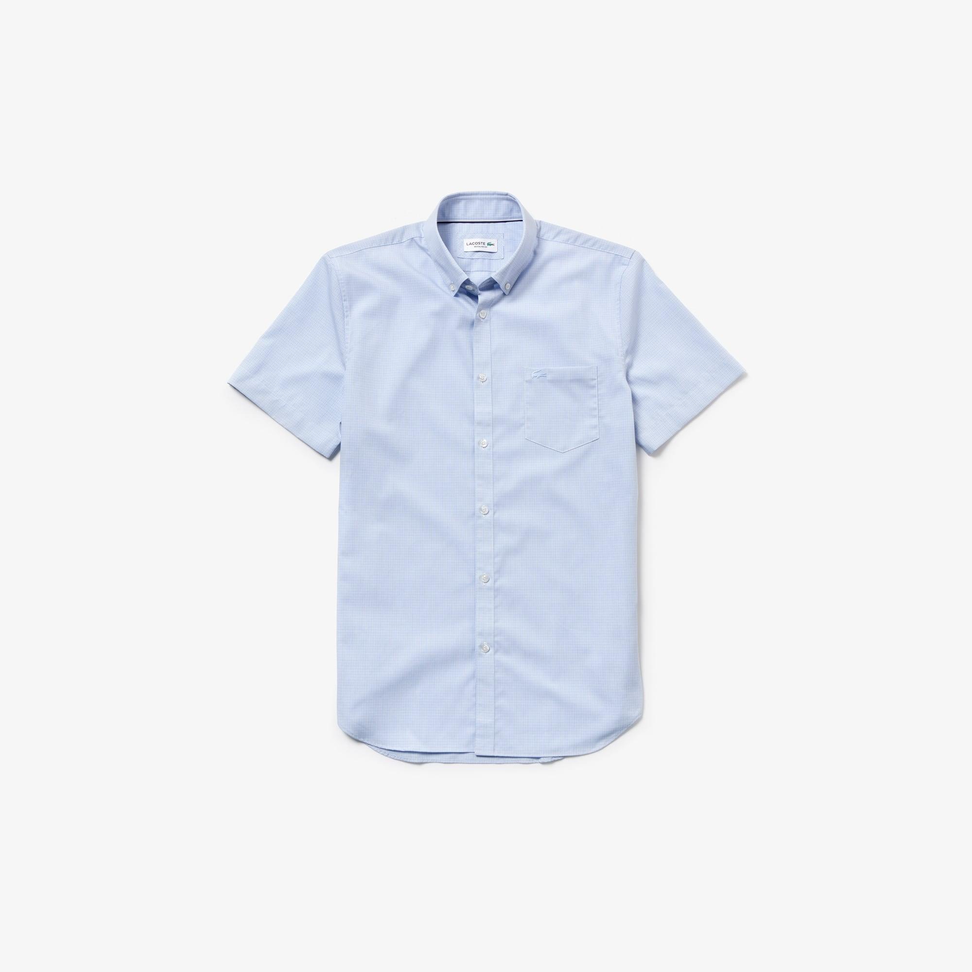 라코스테 Lacoste Mens Regular Fit Mini Check Poplin Shirt,Light Blue