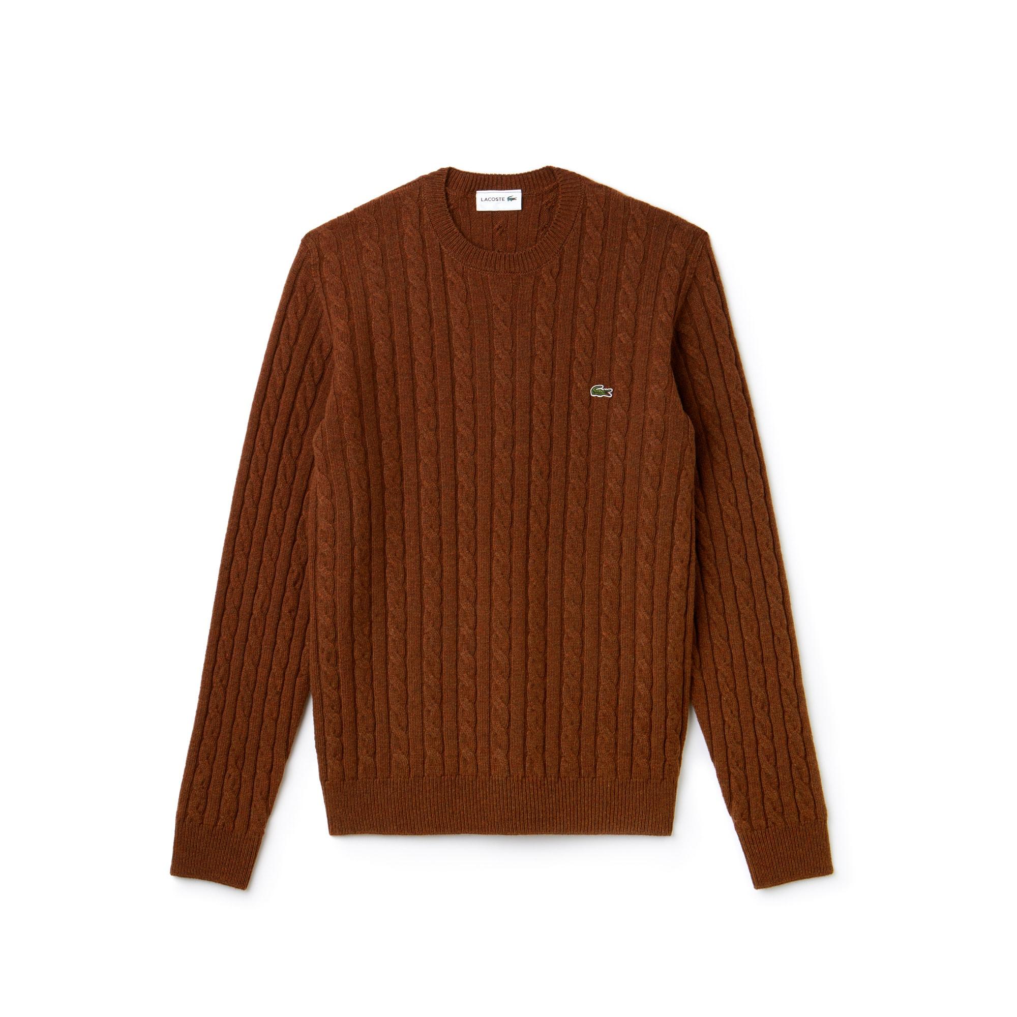 라코스테 케이블 니트 크루넥 스웨터 다크브라운 (서강준 착용) Lacoste Mens Crew Neck Wool Cable Knit Effect Sweater,dark renaissance brown AH7069-51