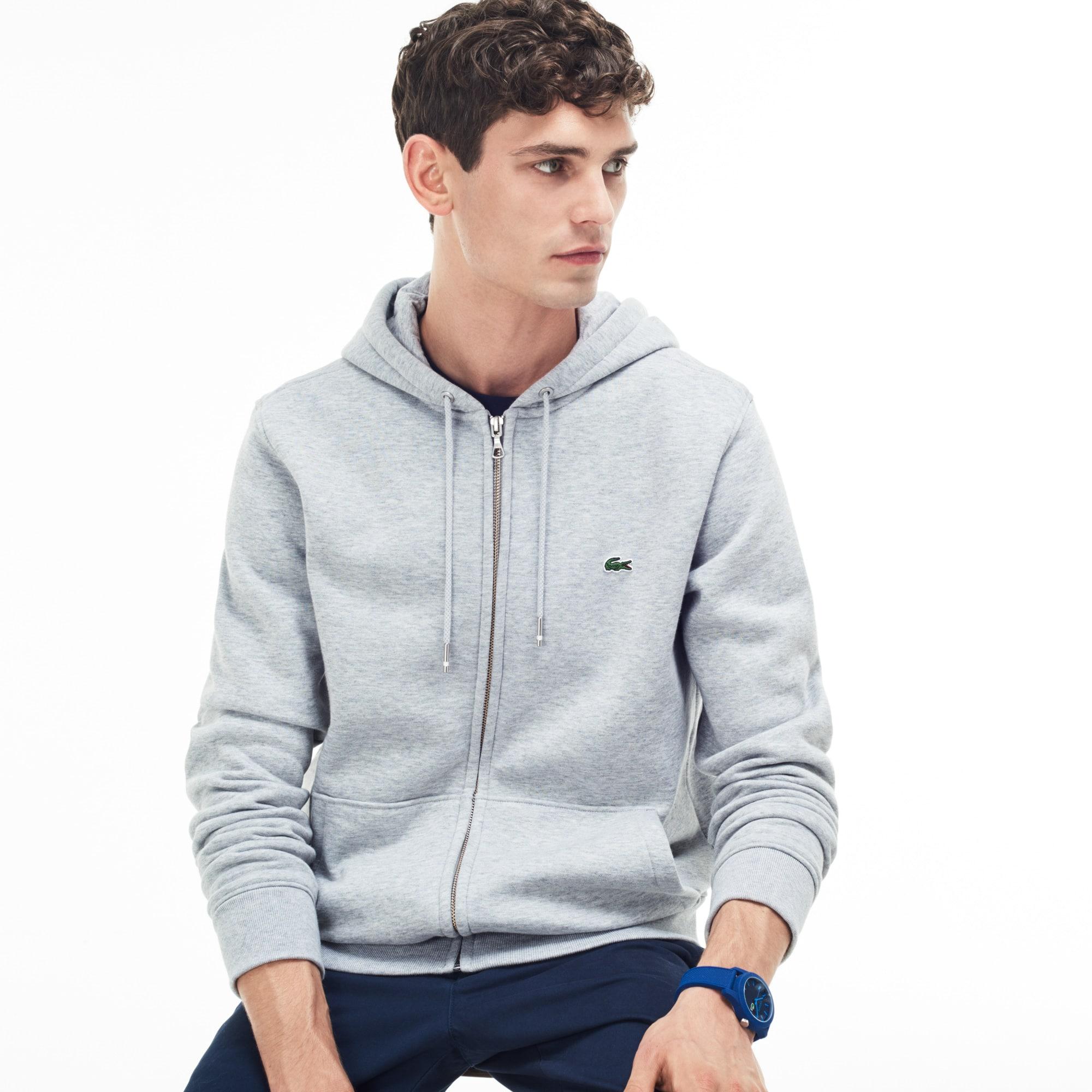 Men's Hooded Zippered Brushed Fleece Sweatshirt