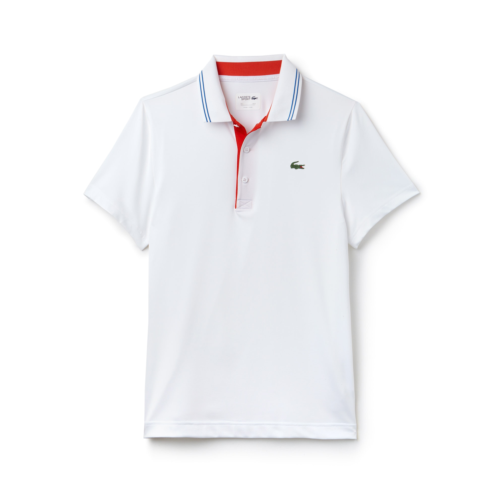 라코스테 스포츠 반팔 카라티 Lacoste Mens SPORT Lettering Stretch Technical Jersey Golf Polo Shirt,white/pomegrenate-blue ro