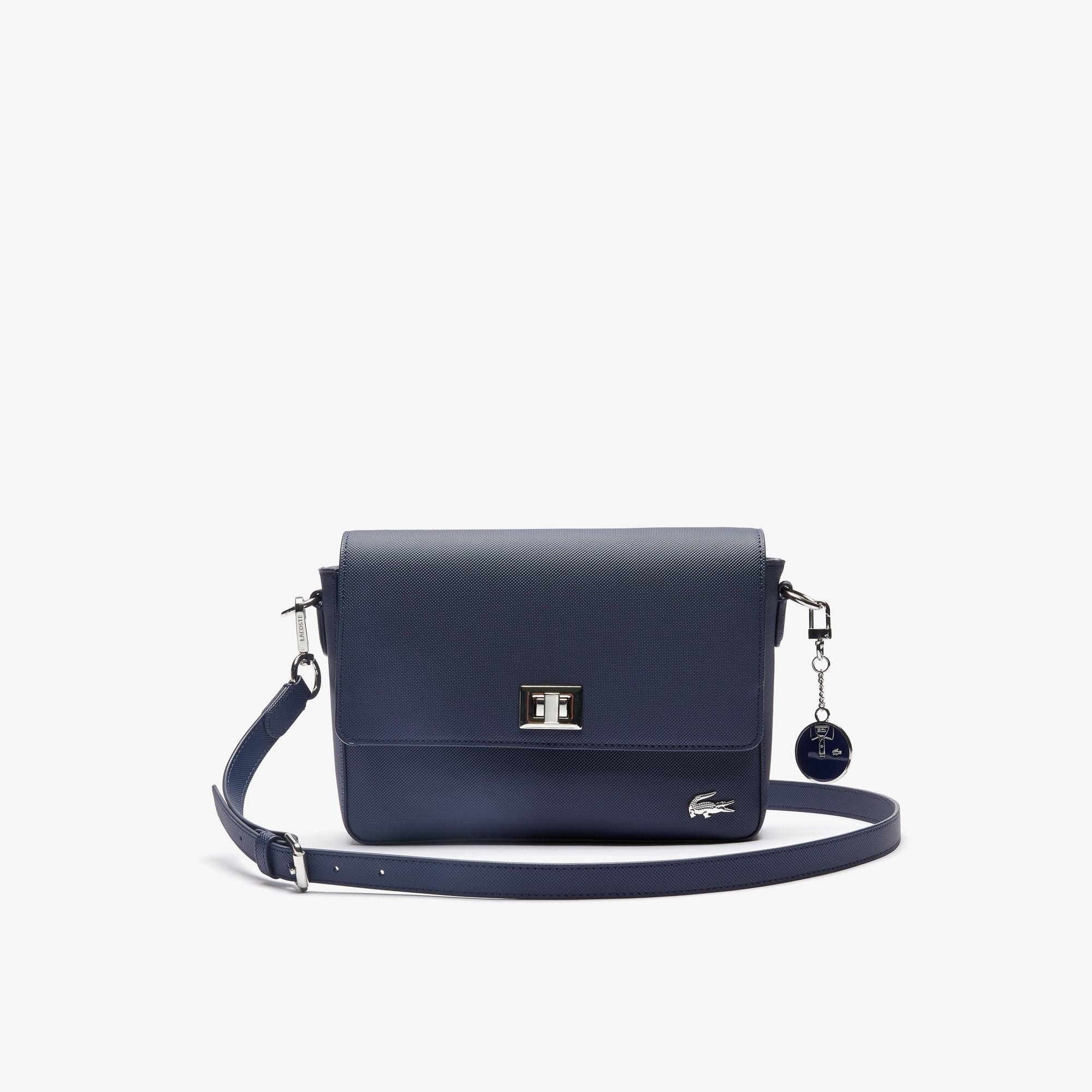 라코스테 Lacoste Womens Daily Classic Coated Pique Canvas Clasp Shoulder Bag,peacoat