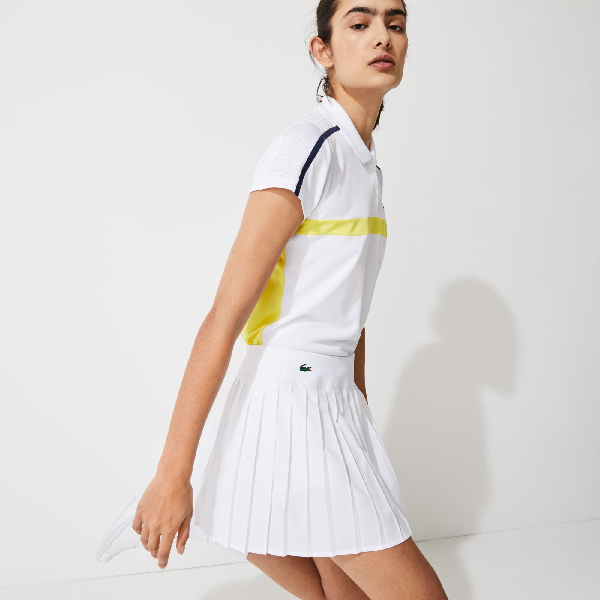 라코스테 테니스 스커트 Lacoste Women's SPORT Ultra Dry Pleated Tennis Skirt,White Z92