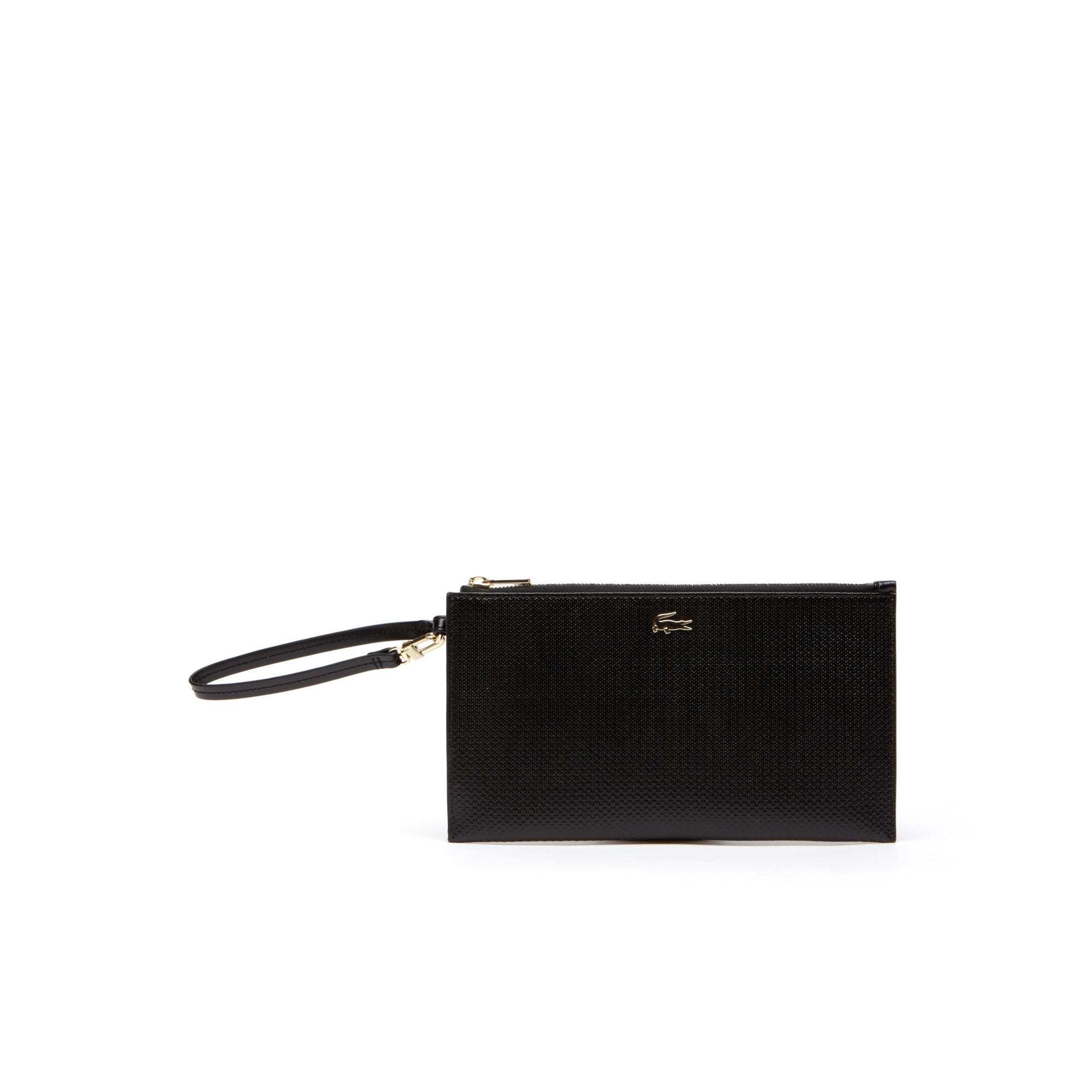 라코스테 Lacoste Womens Chantaco Pique Leather Zip Pouch,black