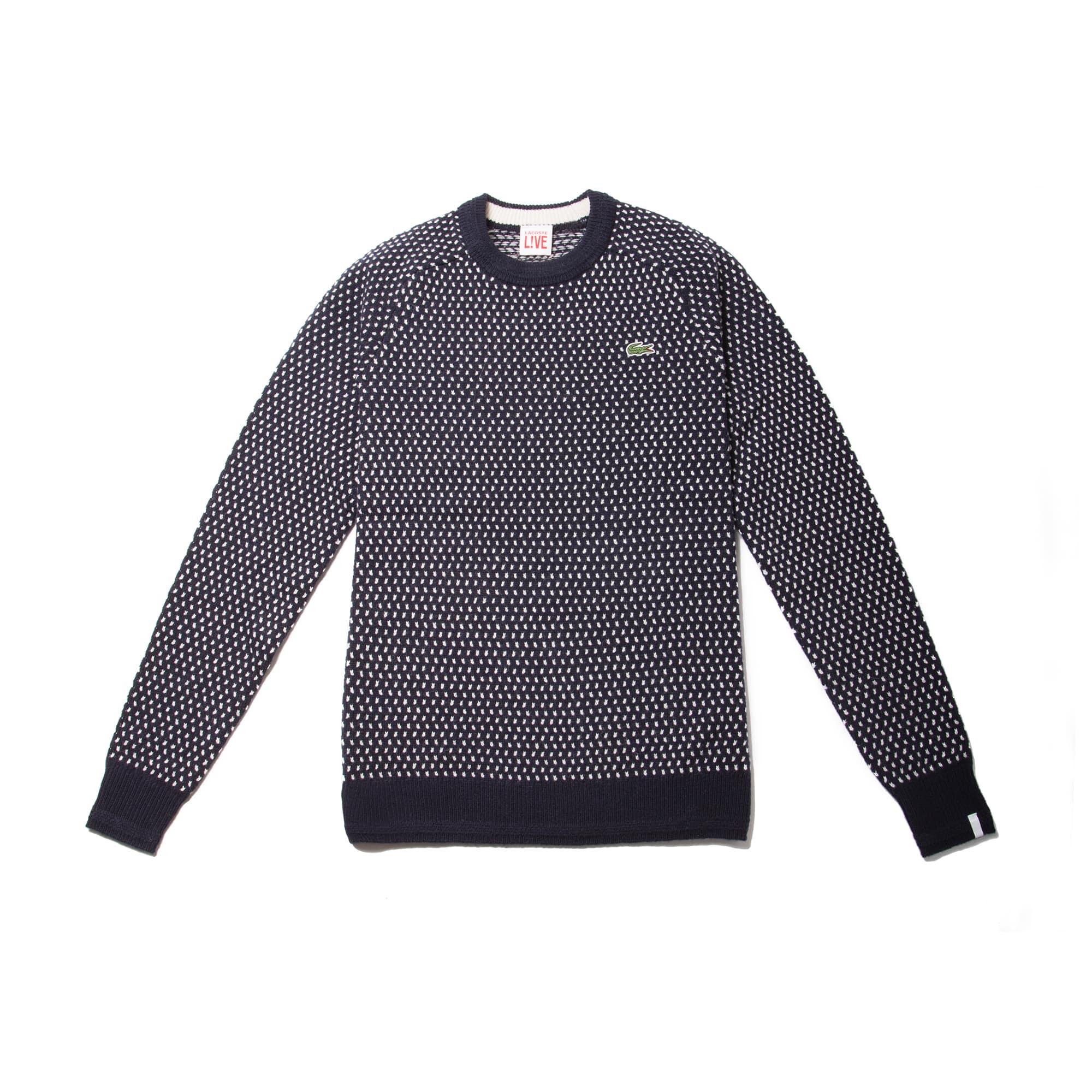 Men's  LIVE Crew Neck Wool Blend Mini Jacquard Sweater