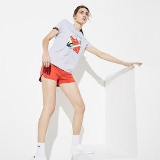 라코스테 스포츠 반바지 Lacoste Womens SPORT Tennis Fleece Shorts,Red