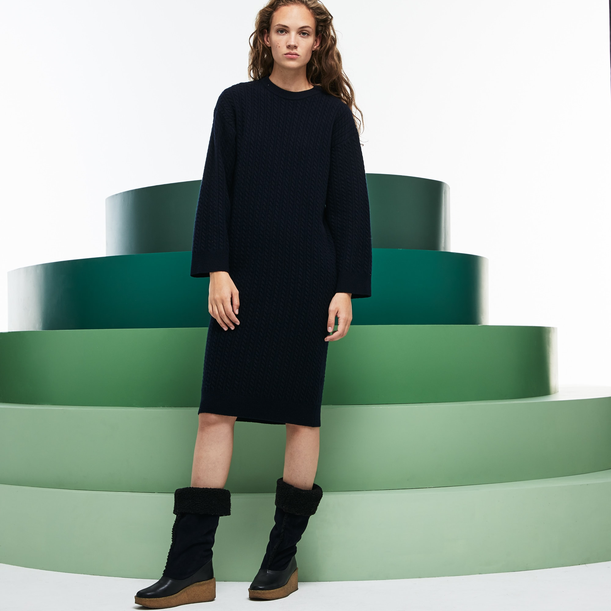 Womens Fashion Show Oversized Wool And Cashmere Sweater Dress Lacoste