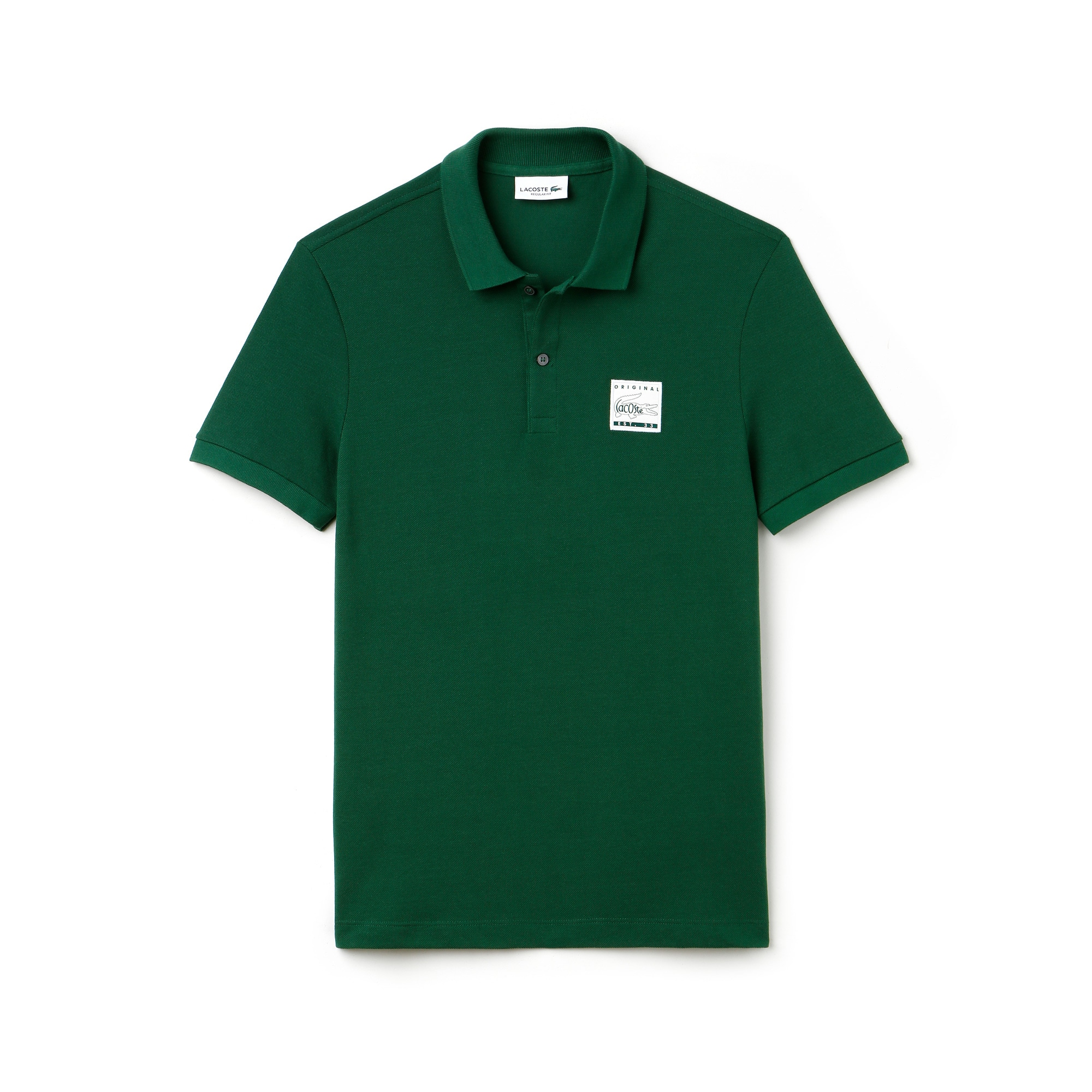 Men's Regular Fit Patch Cotton Petit Piqué Polo