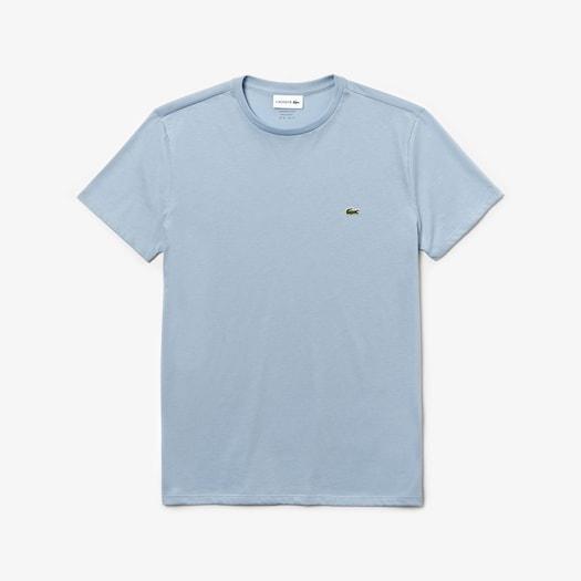 라코스테 Lacoste Mens Crew Neck Pima Cotton Jersey T-shirt,Light Blue - B9Y