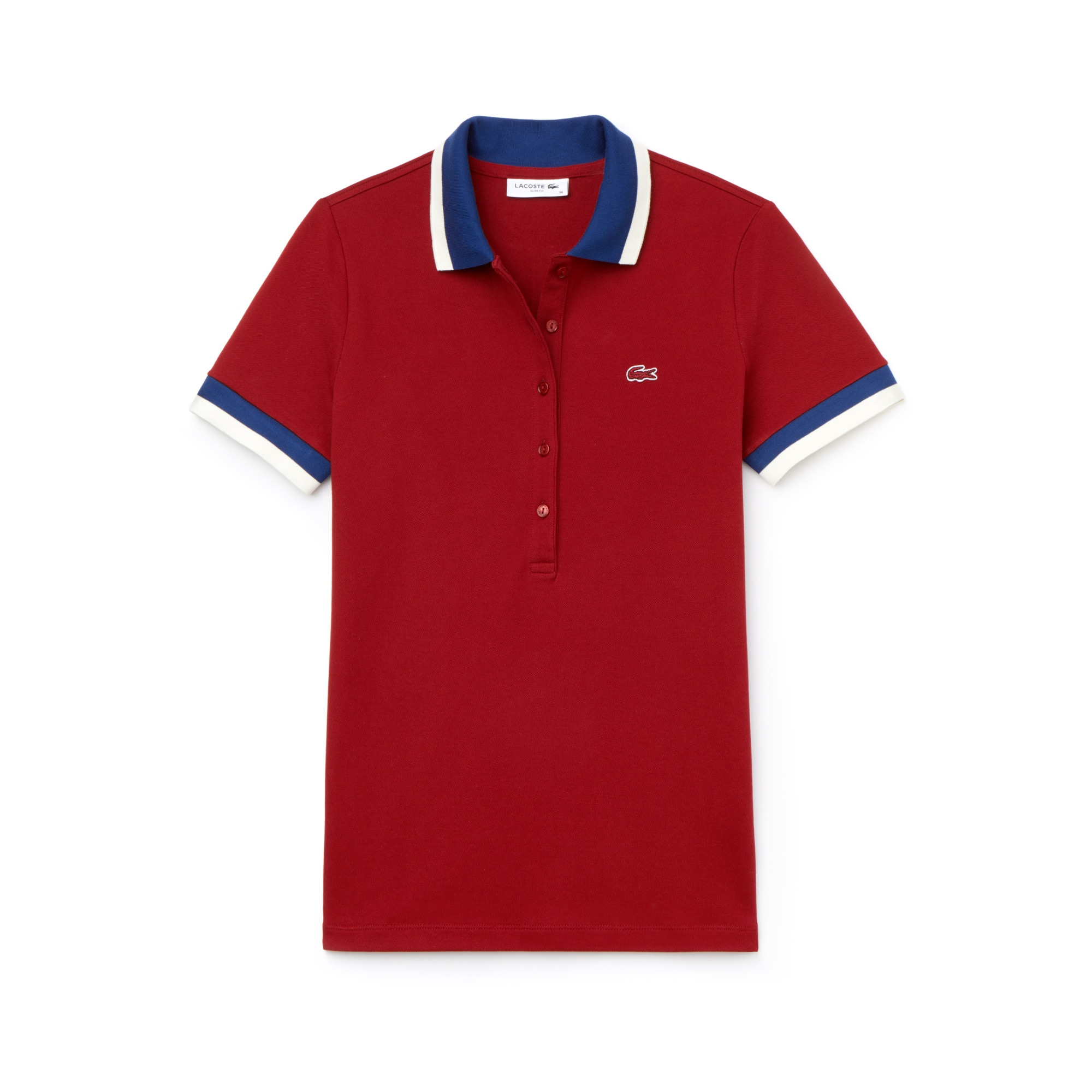 라코스테 Lacoste Womens Slim Fit Bicolor Finishes Stretch Mini Pique Polo,red / navy blue / white