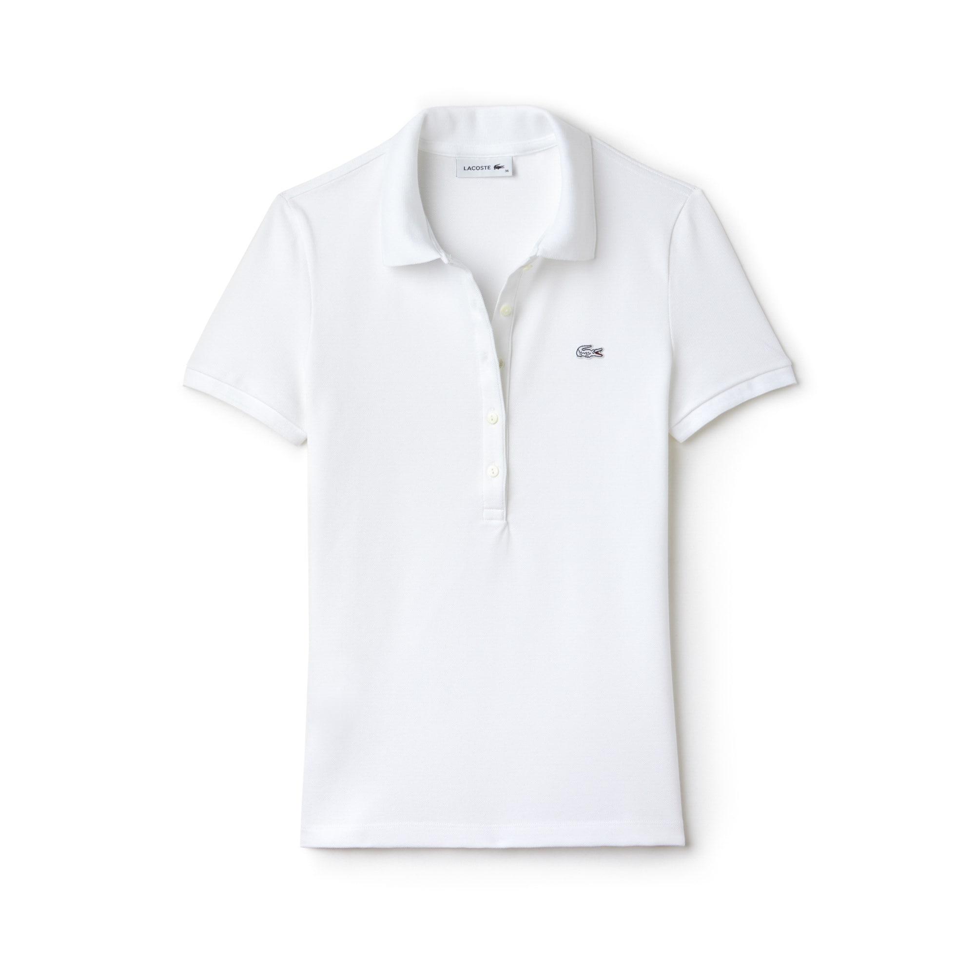 라코스테 Lacoste Womens Slim Fit Stretch Mini Cotton Pique Polo Shirt,white