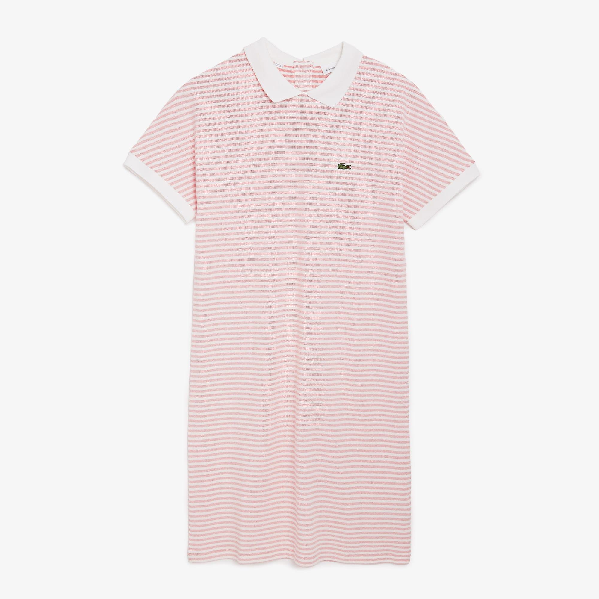 라코스테 스트라이프 폴로 원피스 - 레드/화이트 Lacoste Women's Striped Polo Dress