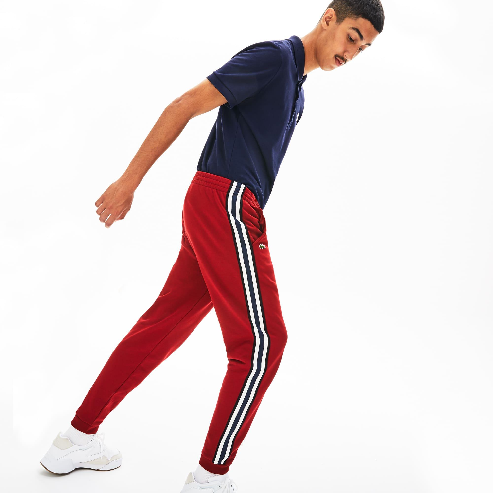 라코스테 트랙 팬츠 Lacoste Mens Fleece Side Stripe Trackpants,Bordeaux - Z1Q