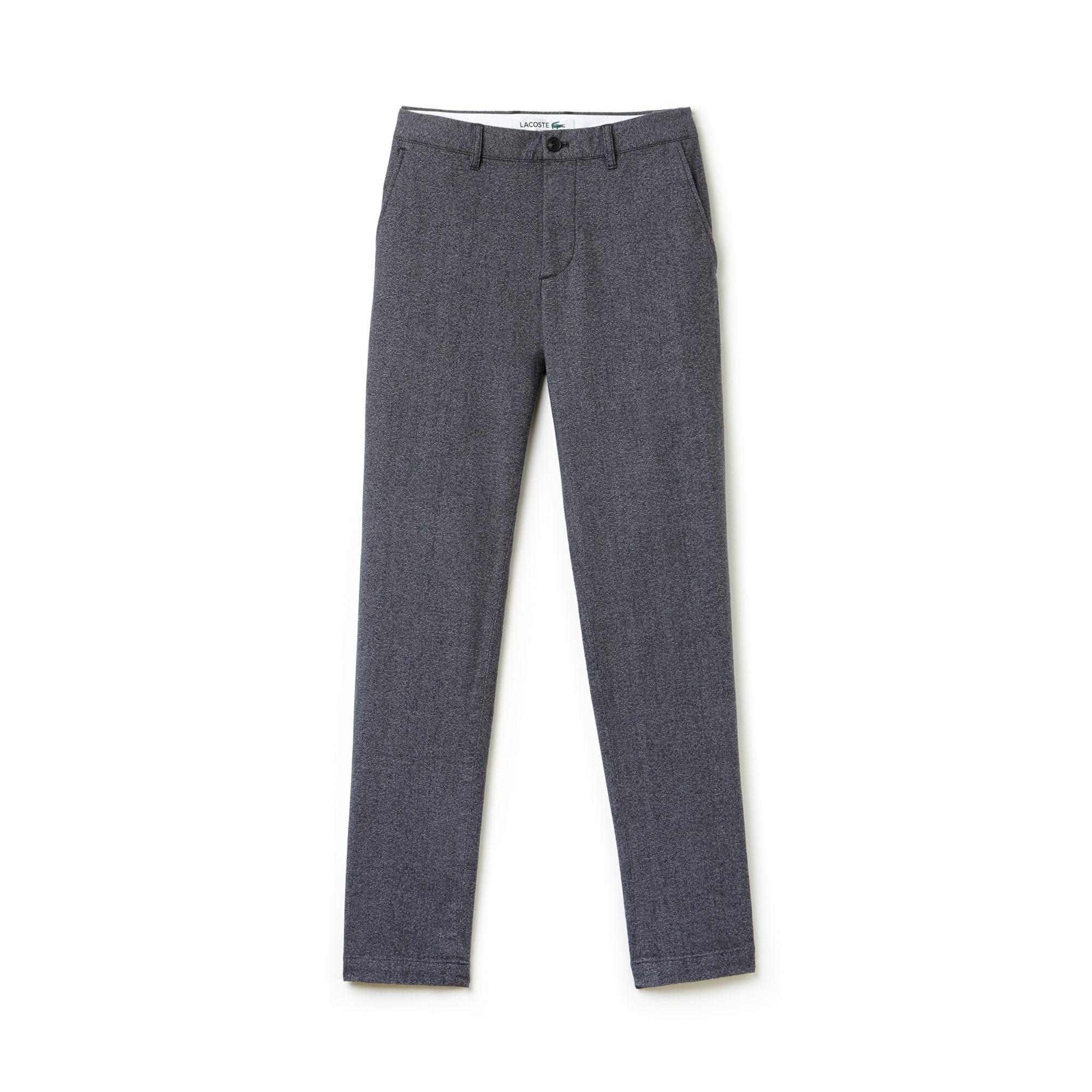 라코스테 Lacoste Mens Texturized Stretch Cotton Chino Pants,GRAPHITE GREY