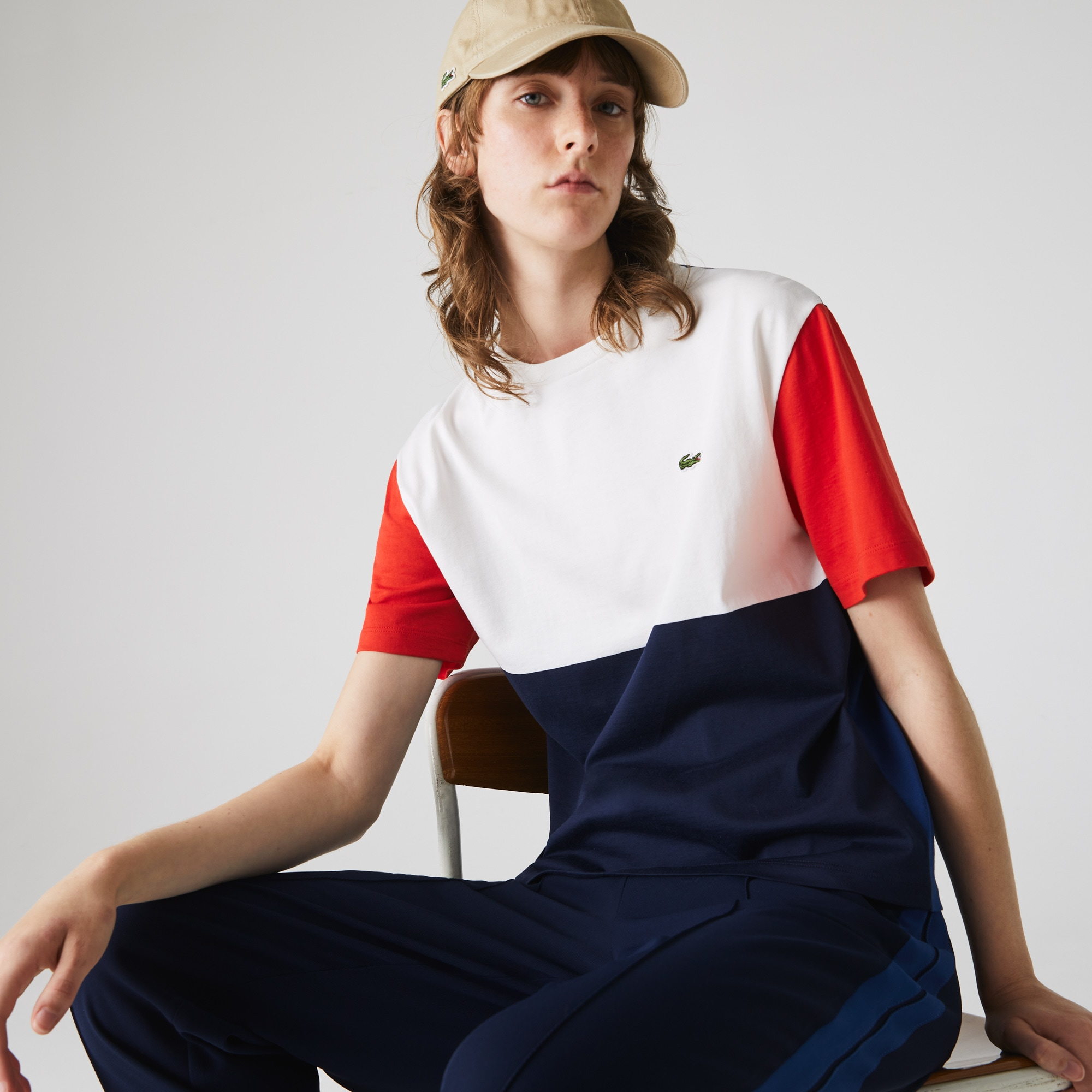 Lacoste Womens Made In France Crew Neck Tricolour T-shirt