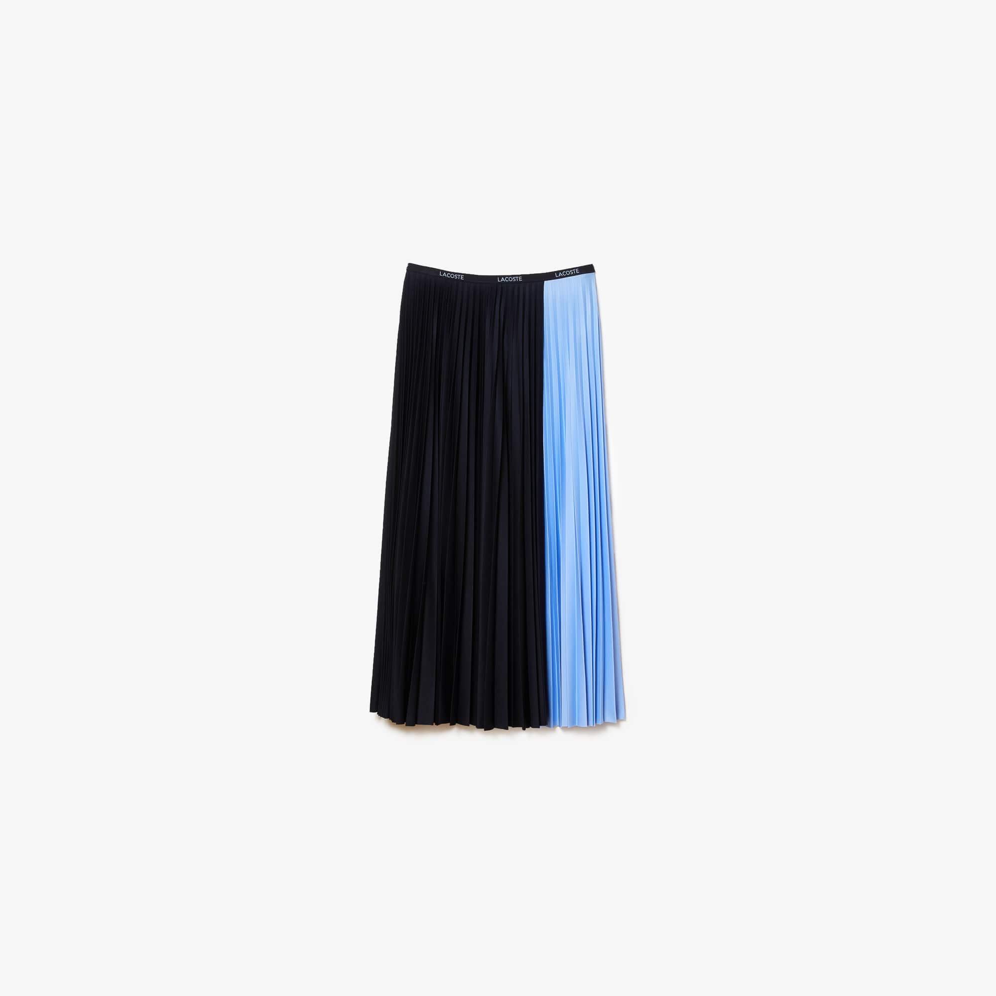 라코스테 컬러블록 미디 플리츠 스커트 Lacoste Women's Colorblock Midi Pleated Skirt