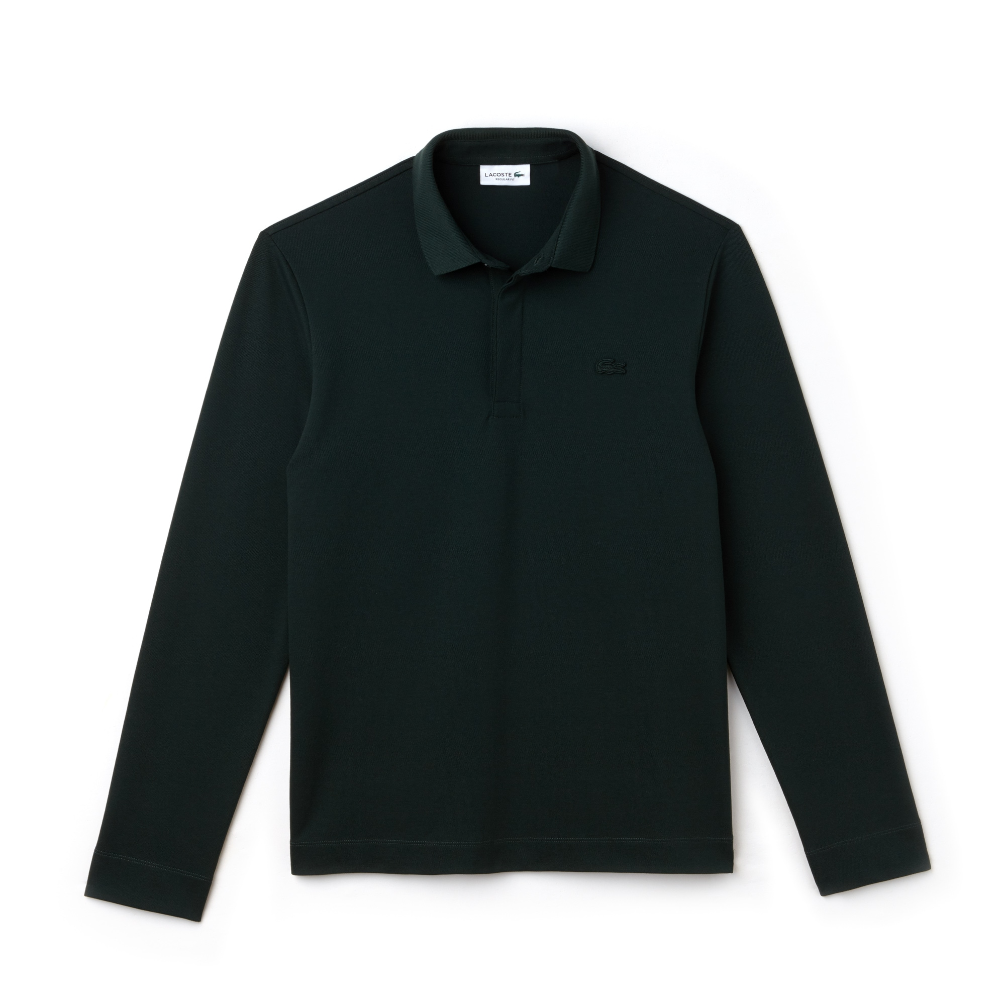 라코스테 Lacoste Mens Long-sleeve Paris Polo Regular Fit Stretch Cotton Pique,sinople