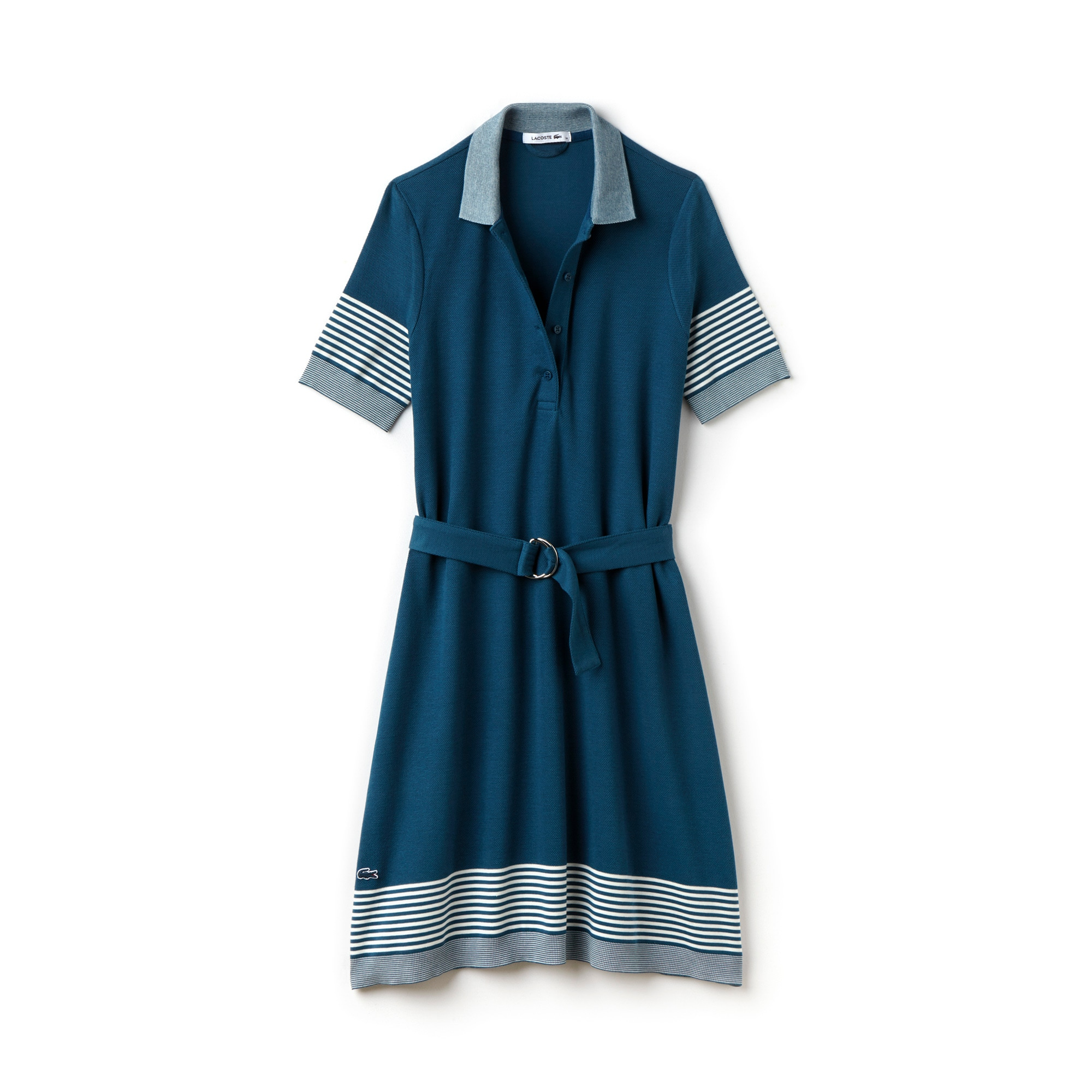 Women's Belted Mixed Stripe Cotton Piqué Polo Dress