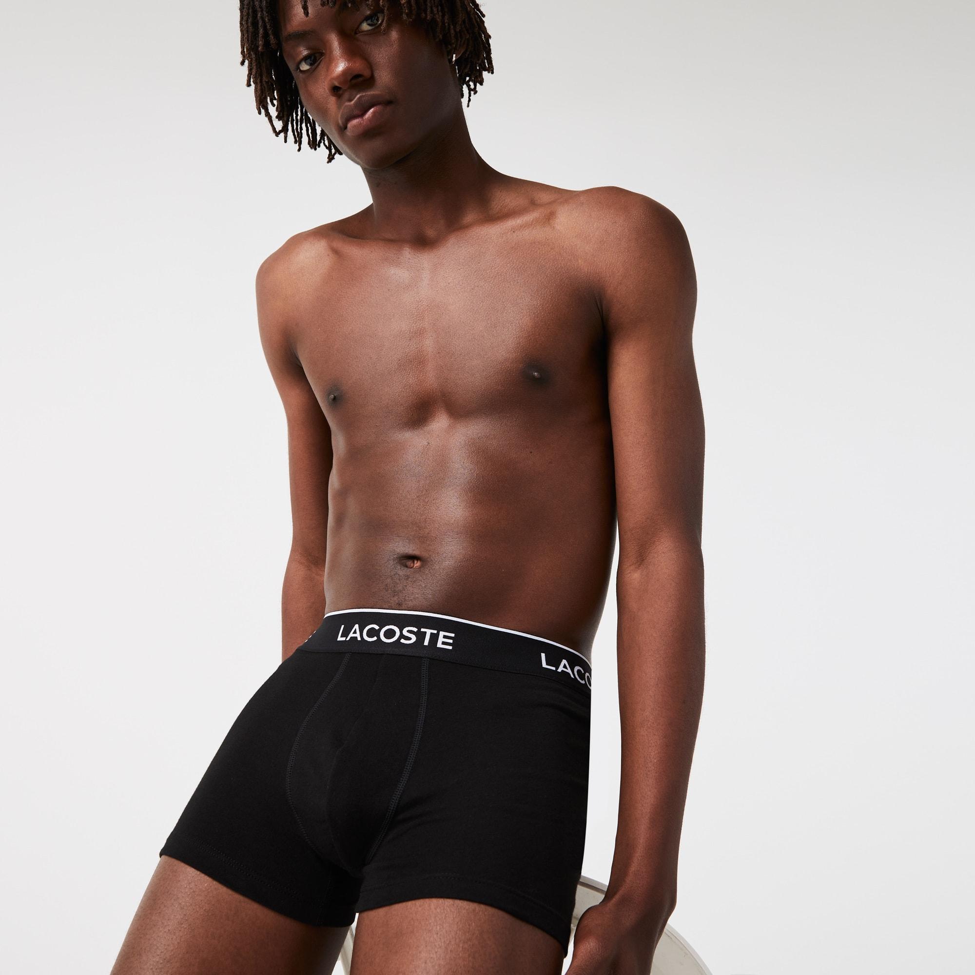 Lacoste 3-Pack Casual Cotton Stretch Men/'s Boxer Trunks Black