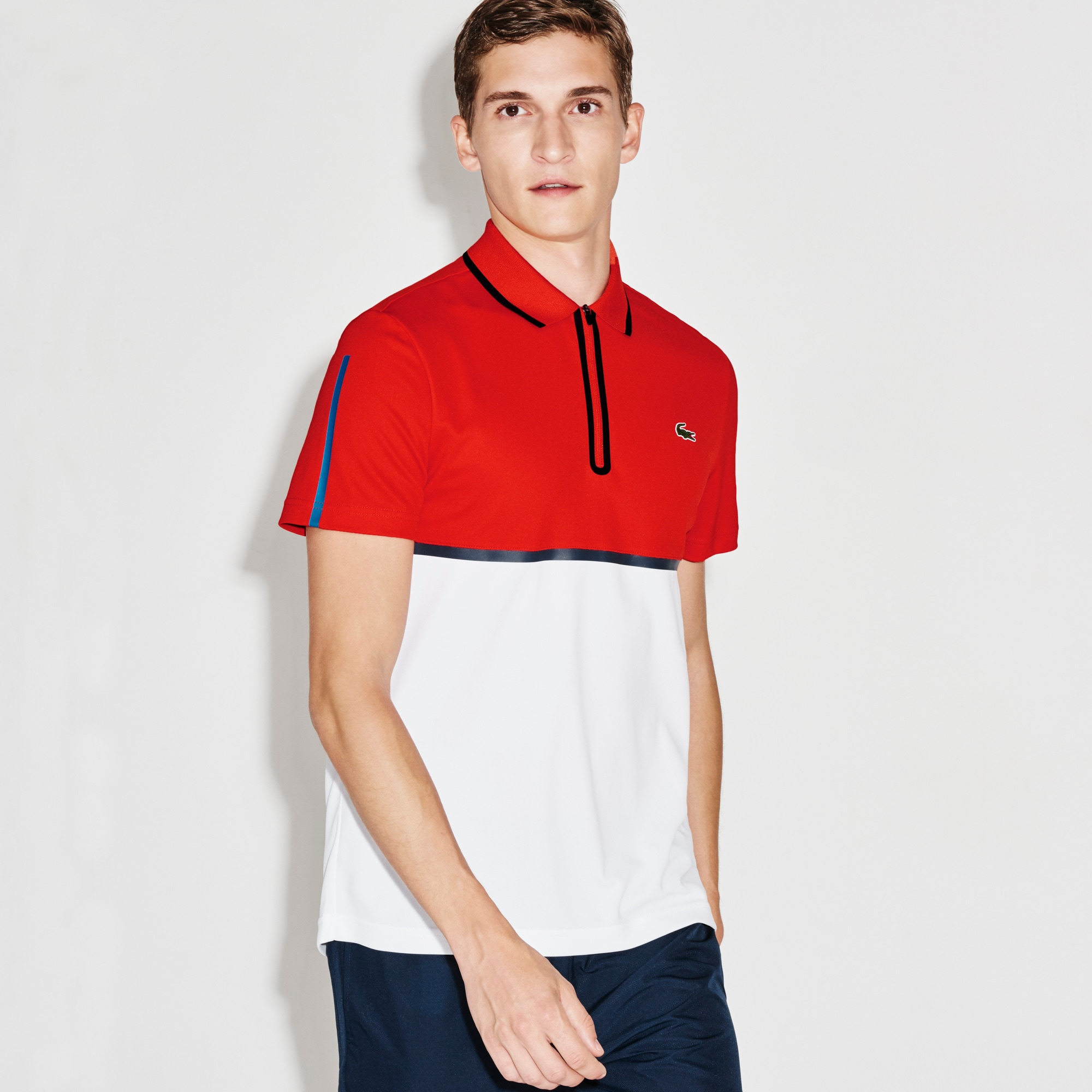 Men's SPORT Ultra Dry Zip Pique Knit Tennis Polo Shirt