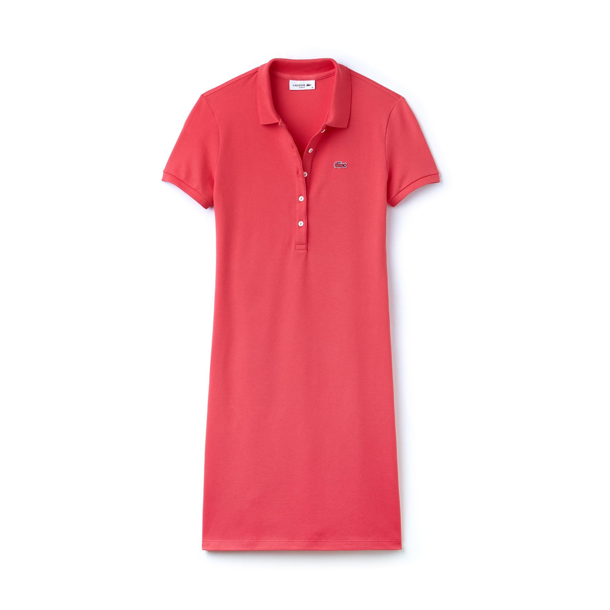 라코스테 Lacoste Womens Stretch Cotton Mini Pique Polo Dress,sirop pink