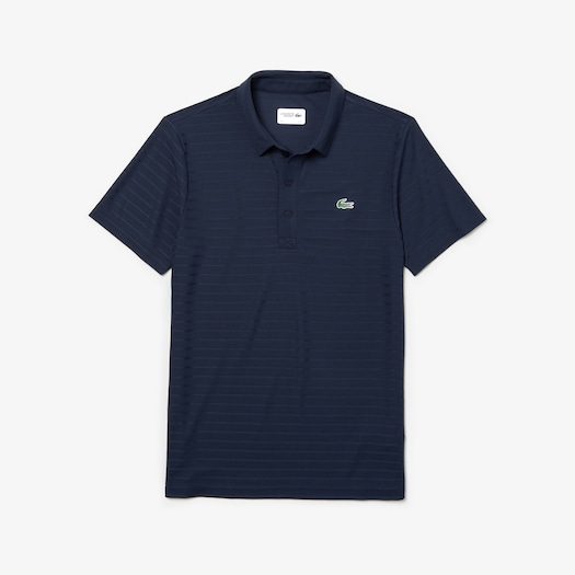 라코스테 Lacoste Mens SPORT Golf Striped Tech Jacquard Jersey Polo Shirt,Navy Blue - 166 (Selected colour)