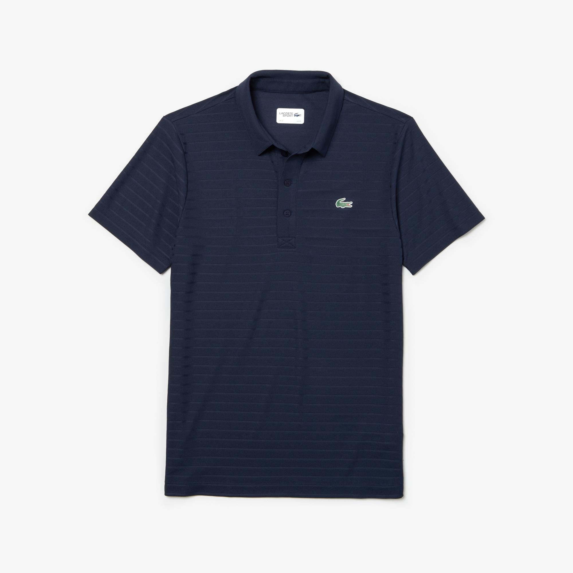 라코스테 Lacoste Mens SPORT Golf Striped Tech Jacquard Jersey Polo Shirt,navy blue