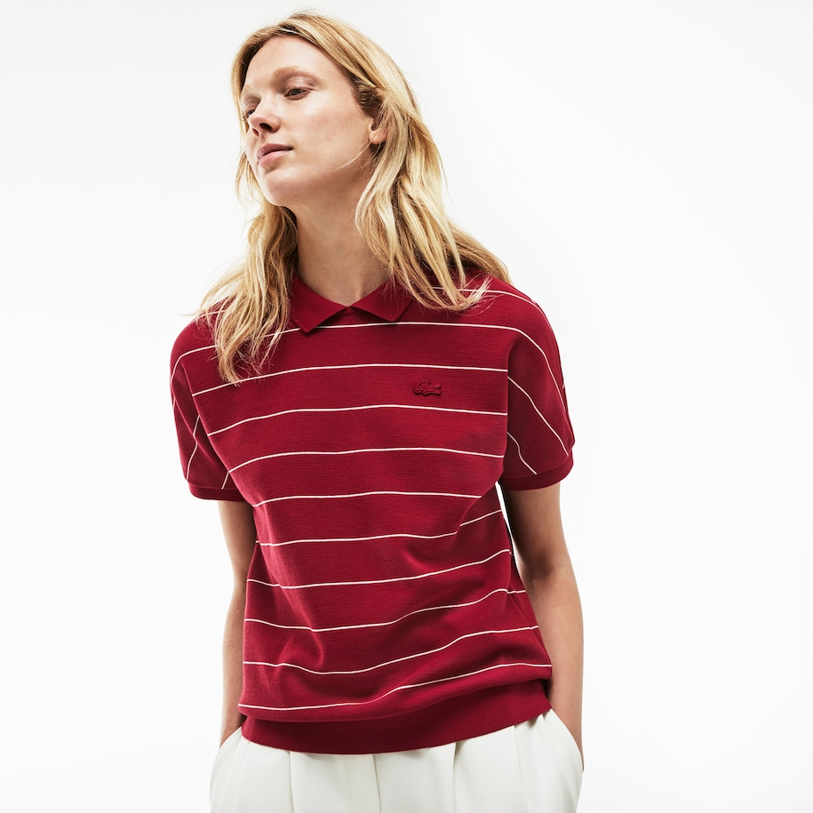 Women's Finely Striped Honeycomb Polo