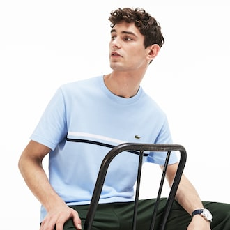 라코스테 Lacoste Mens Made In France Cotton T-shirt,Light Blue / Navy Blue / White