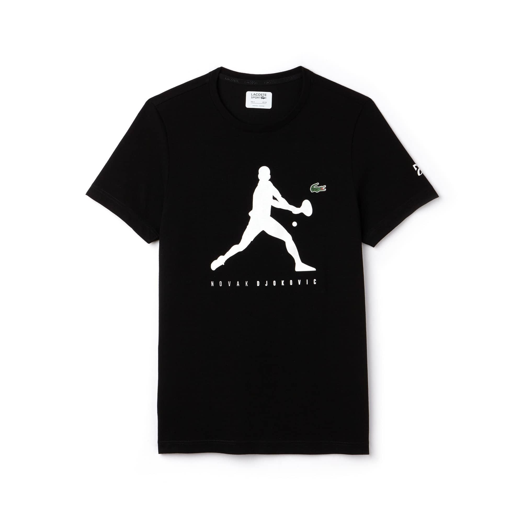 라코스테 Lacoste Mens SPORT Tennis T-Shirt - Novak Djokovic Supporter Collection,black / white