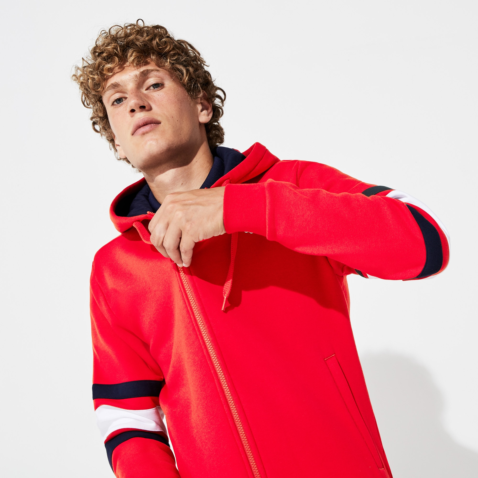 Lacoste Tops Men's SPORT Striped-Sleeve Hooded Zip Sweatshirt