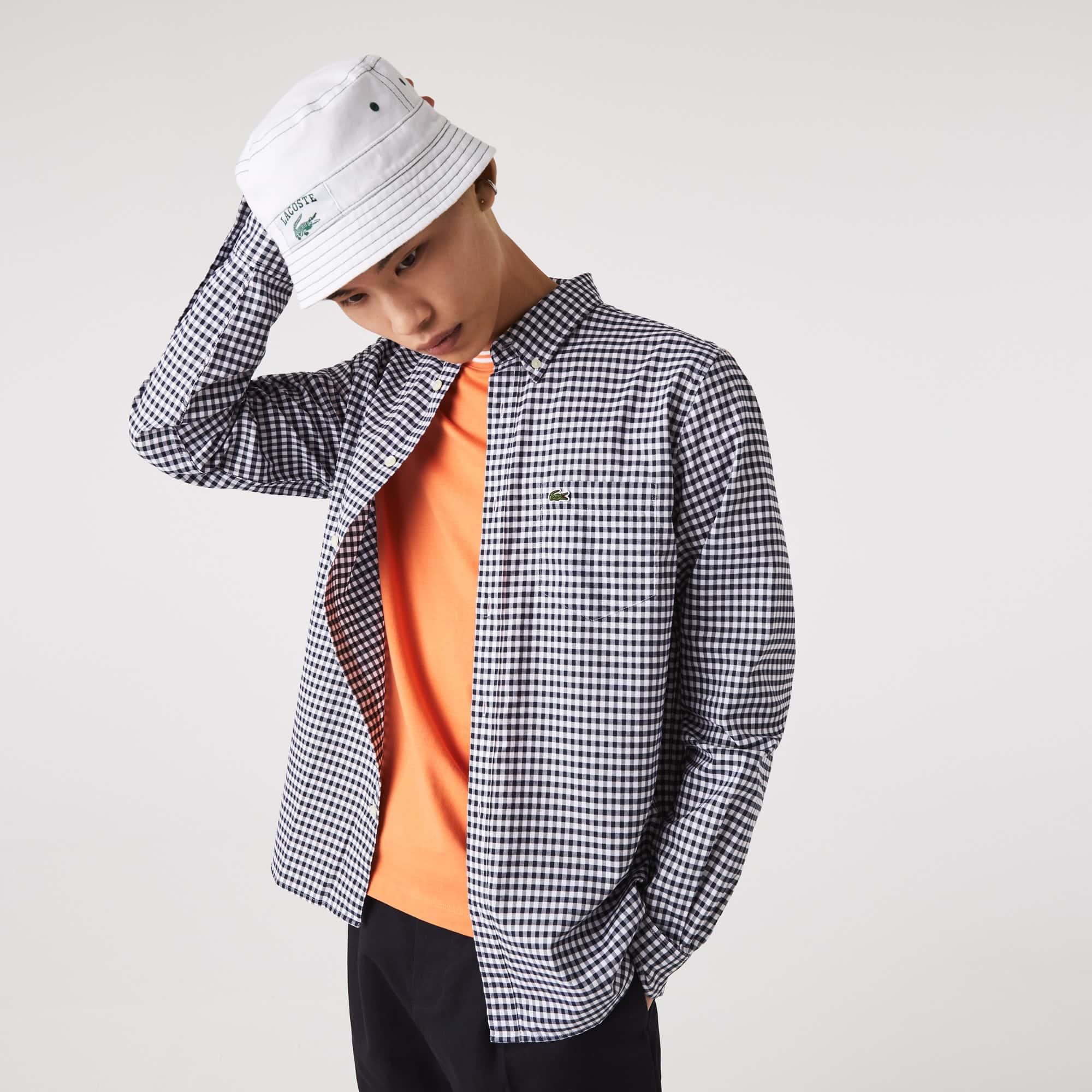 라코스테 Lacoste Mens Regular Fit Gingham Cotton Poplin Shirt