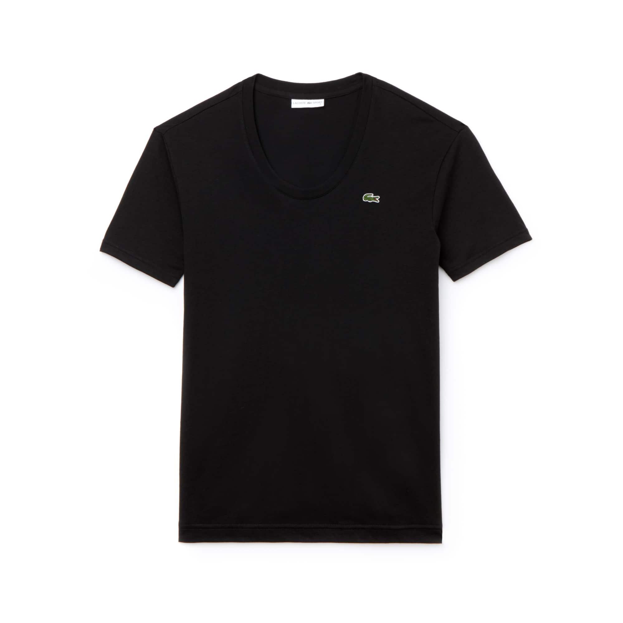라코스테 스포츠 반팔 티셔츠 Lacoste Womens SPORT U-neck Flowing Jersey Tennis T-shirt,black