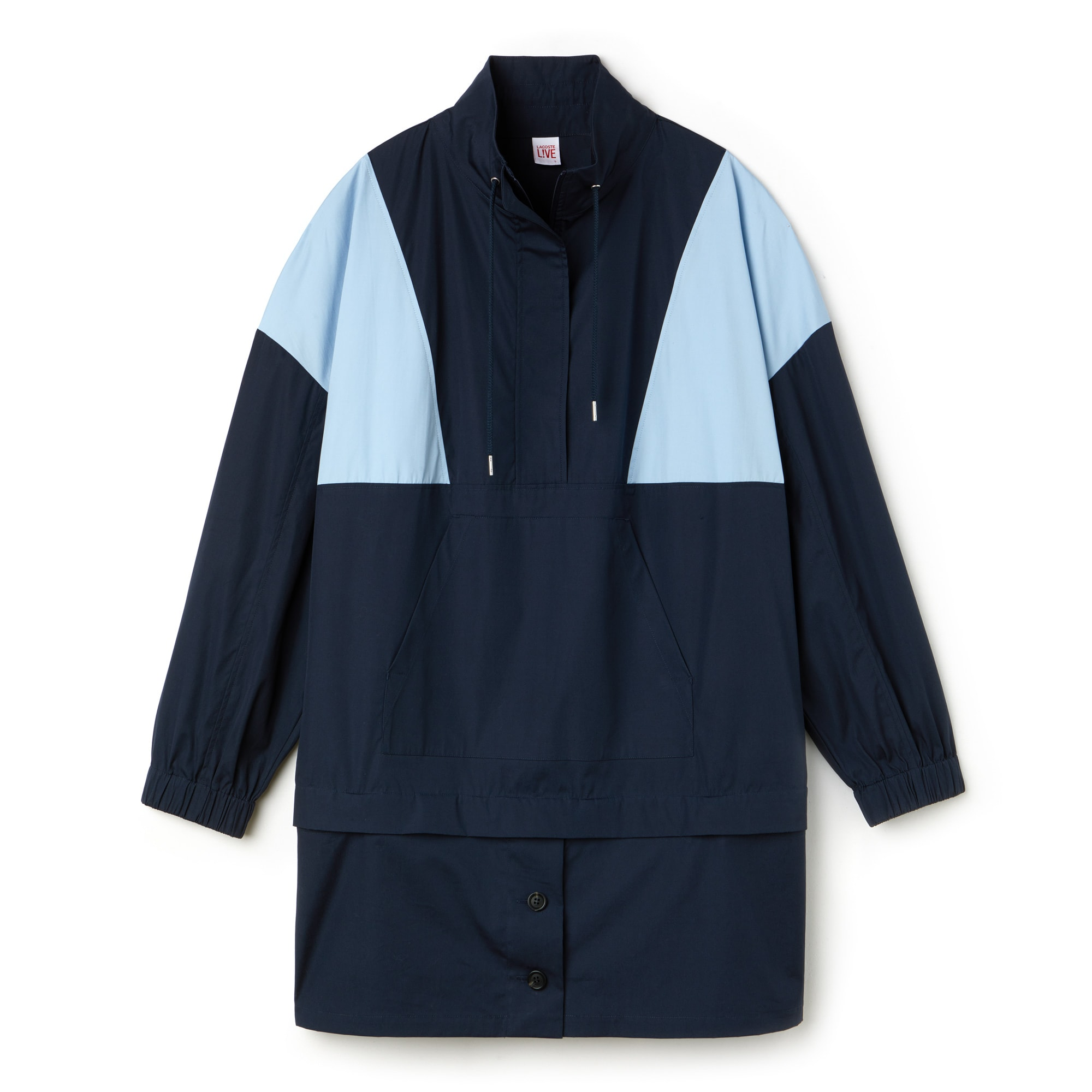 라코스테 라이브 컬러블록 스웻셔츠 원피스 네이비/스카이 Lacoste Womens LIVE Colorblock Cotton Poplin Sweatshirt Dress,MERIDIAN BLUE/ATMOSPHERE