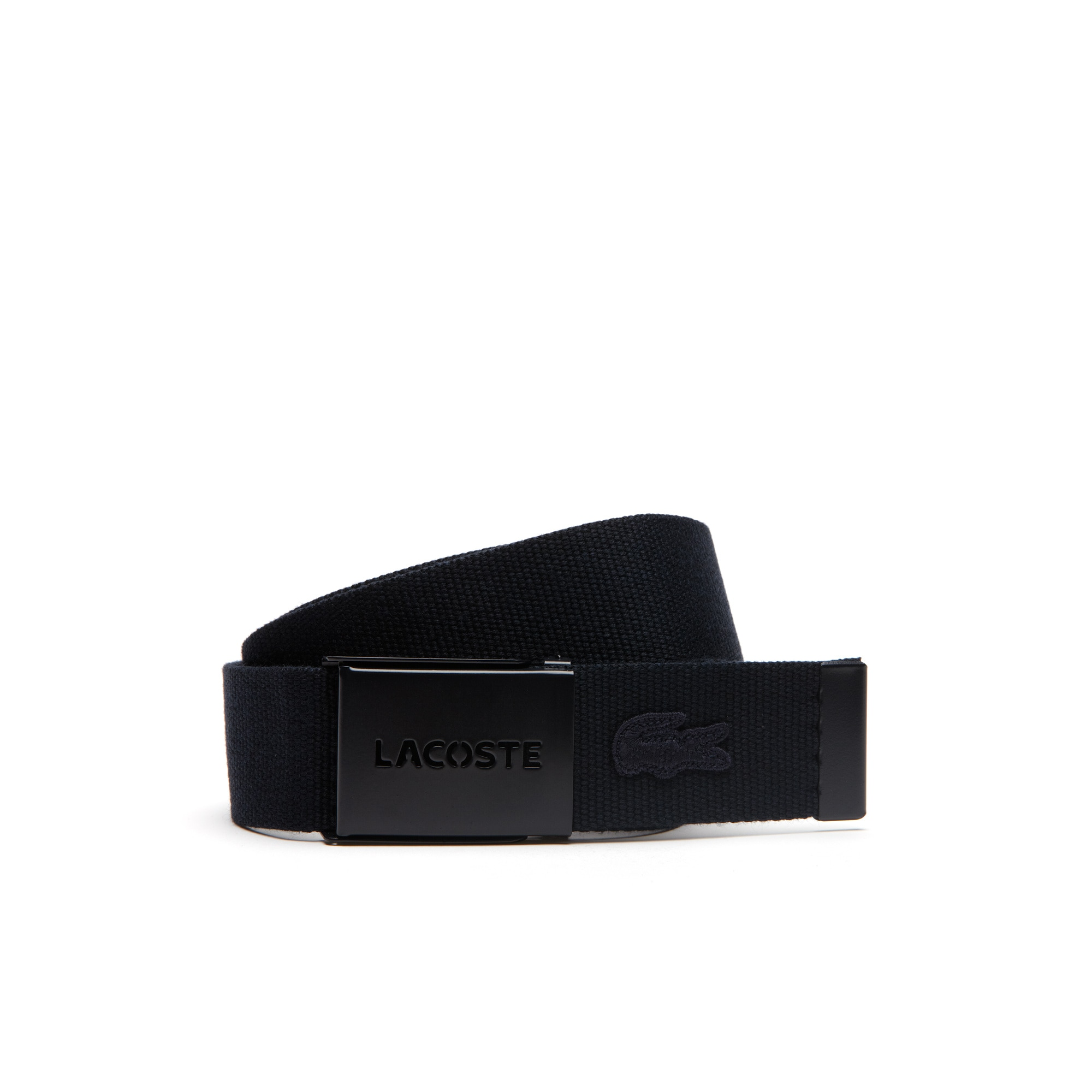 Men's Gift set of canvas belt with perforated monochrome Lacoste