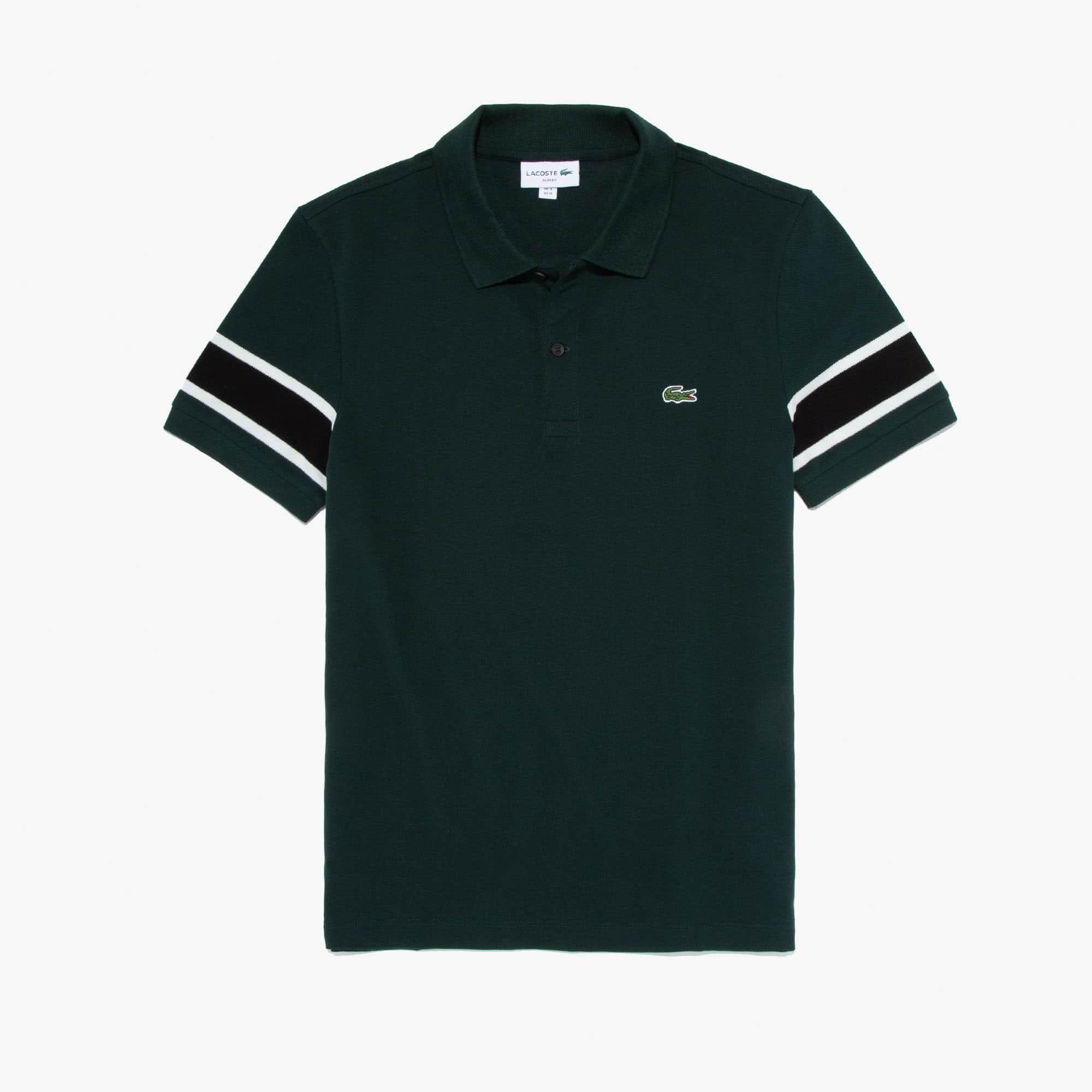 Lacoste Tops Men's Slim Fit Striped-Sleeve Stretch Cotton Piqué Polo Shirt