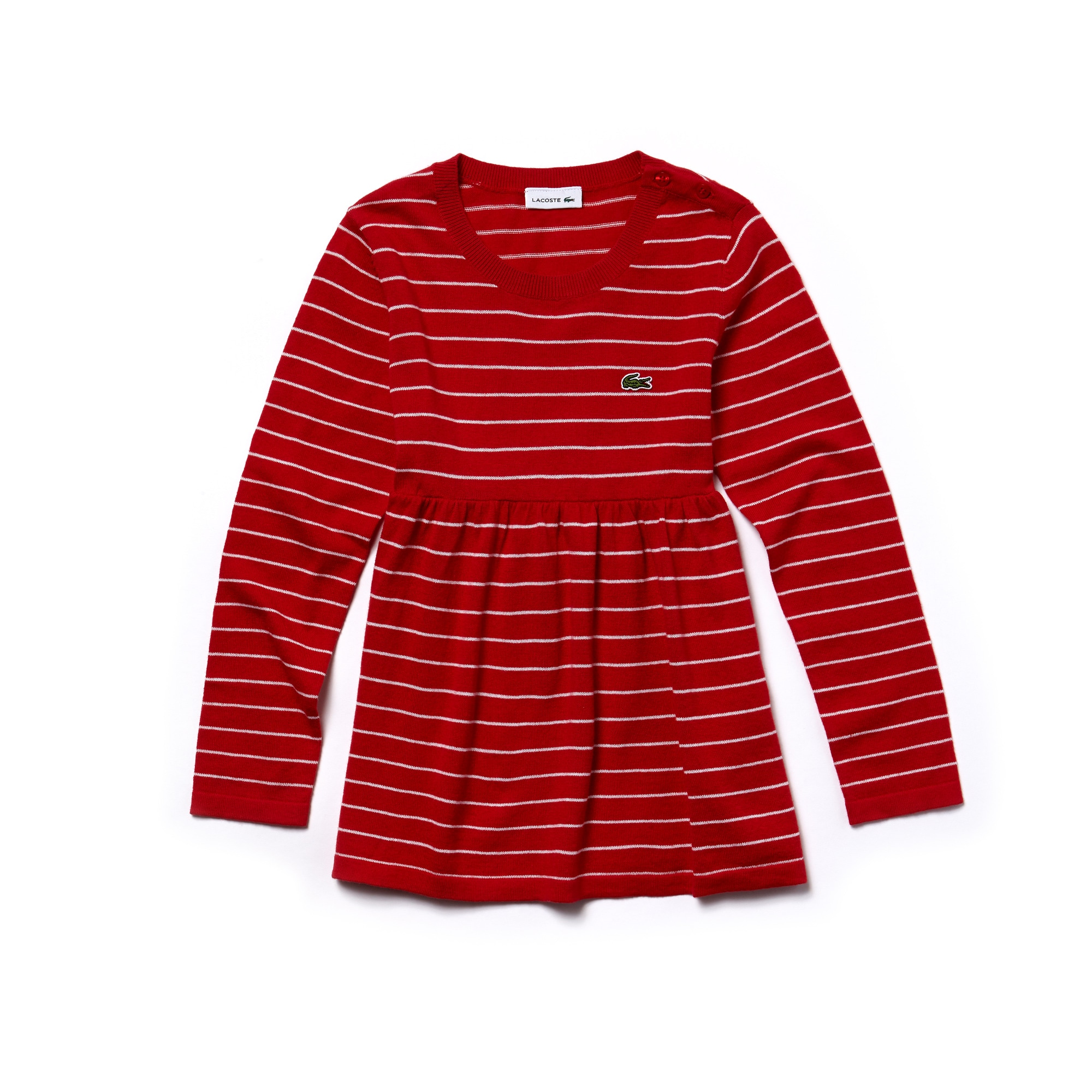 Girls' Flared Striped Cotton And Wool Jersey Dress