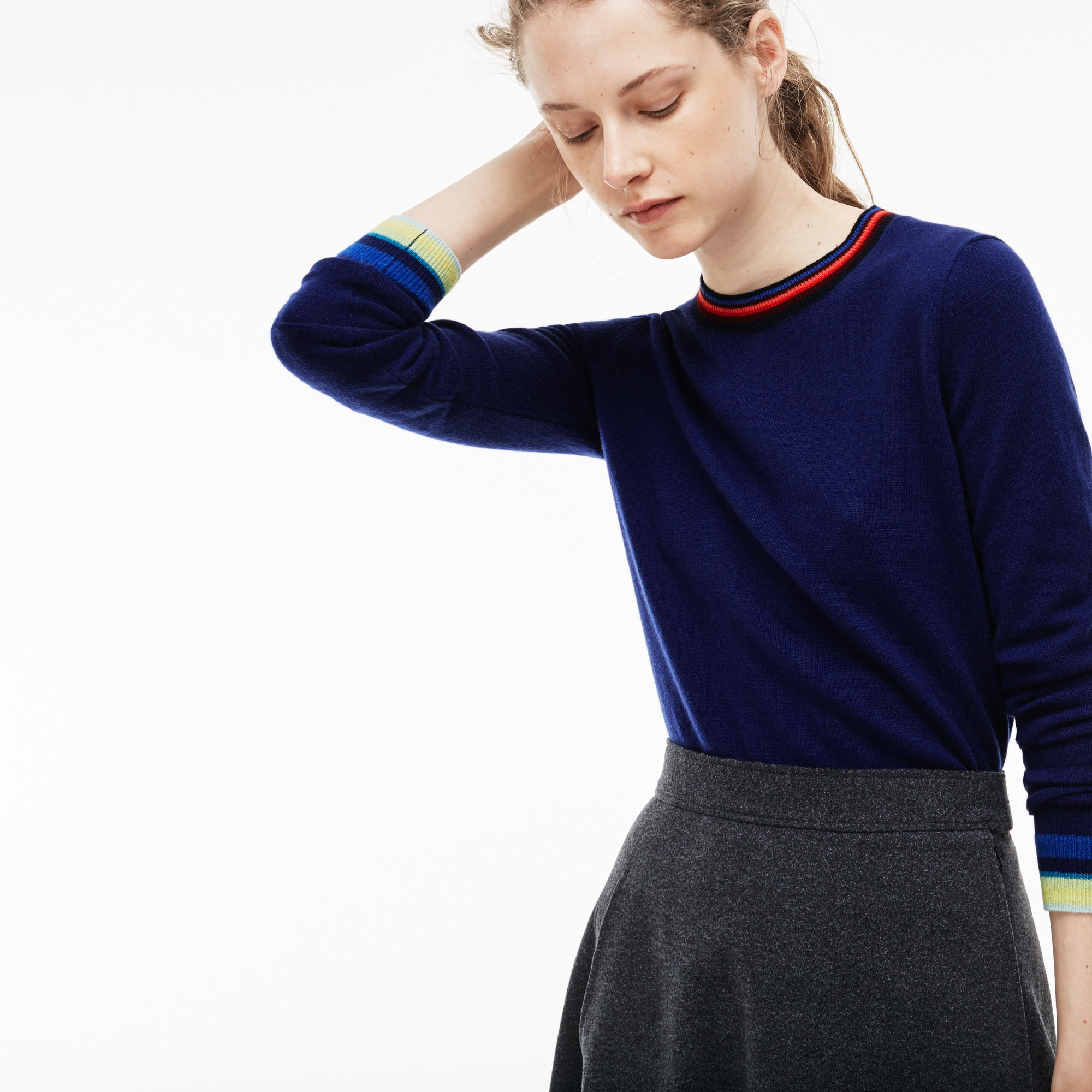 Women's Crew Neck Cashmere Jersey Sweater With Striped Accents
