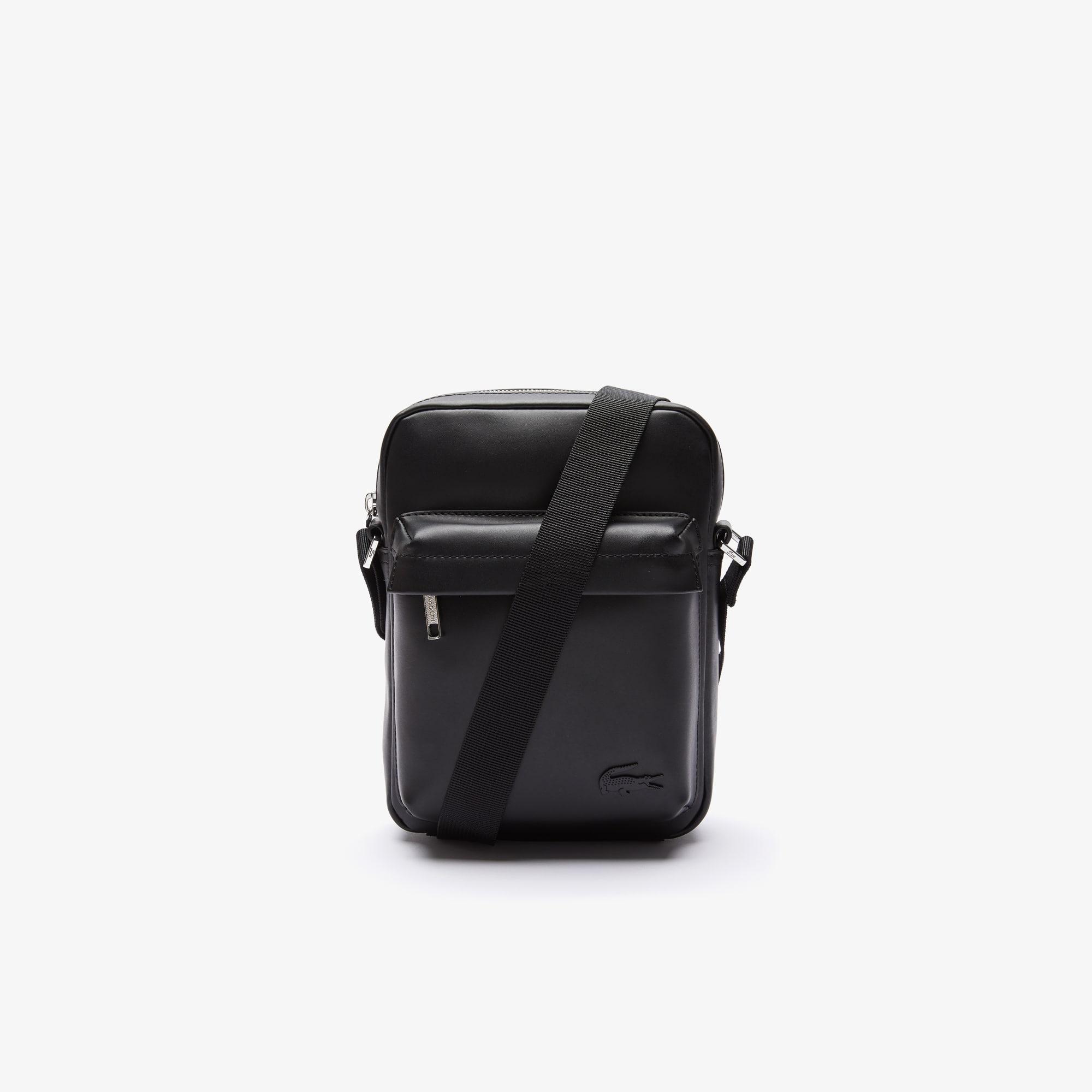 라코스테 Lacoste Men's Urban Breathe Vertical Smooth Leather Zip Bag
