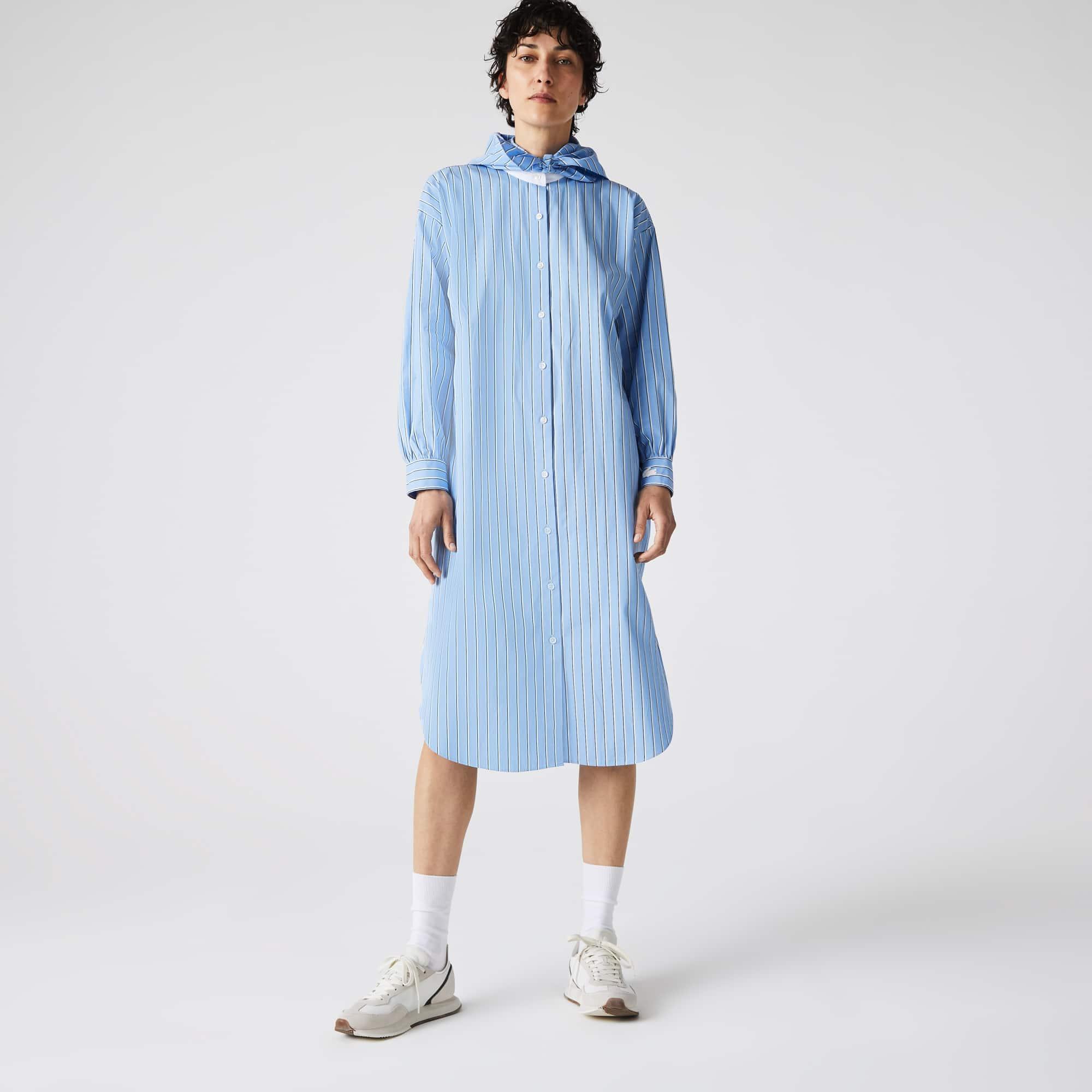 라코스테 라이브 스트라이프 셔츠 원피스 Lacoste Women's LIVE Loose Fit Striped Poplin Shirt Dress,Blue / White WG8