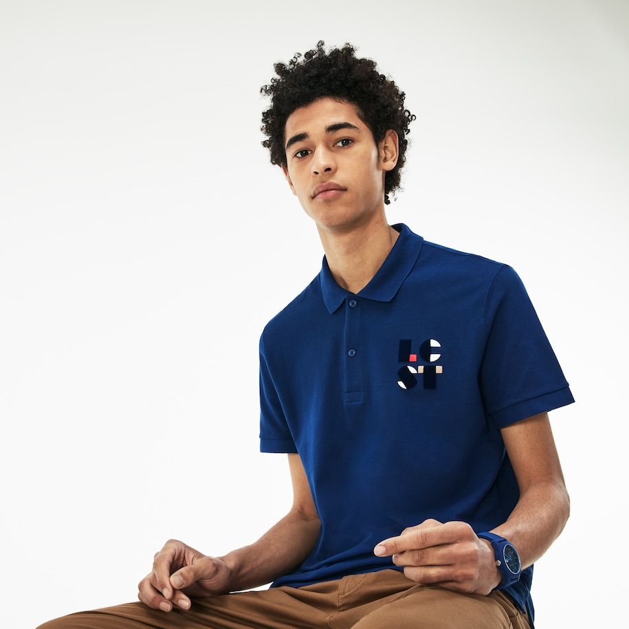 Men's Regular Fit LCST Lettering Petit Piqué Polo