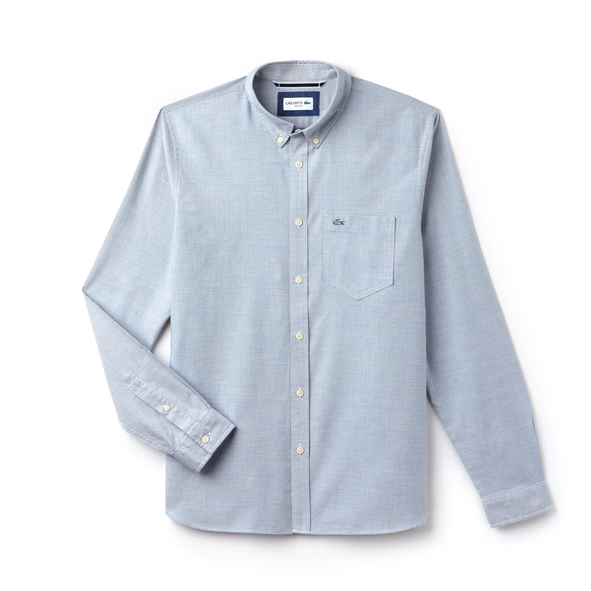 라코스테 Lacoste Mens Slim Fit Houndstooth Print Poplin Shirt,light blue